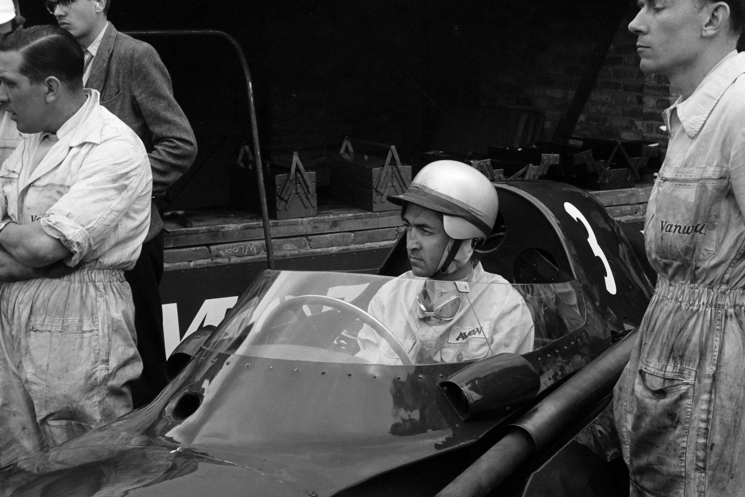 Stuart Lewis-Evans waiting in his Vanwall