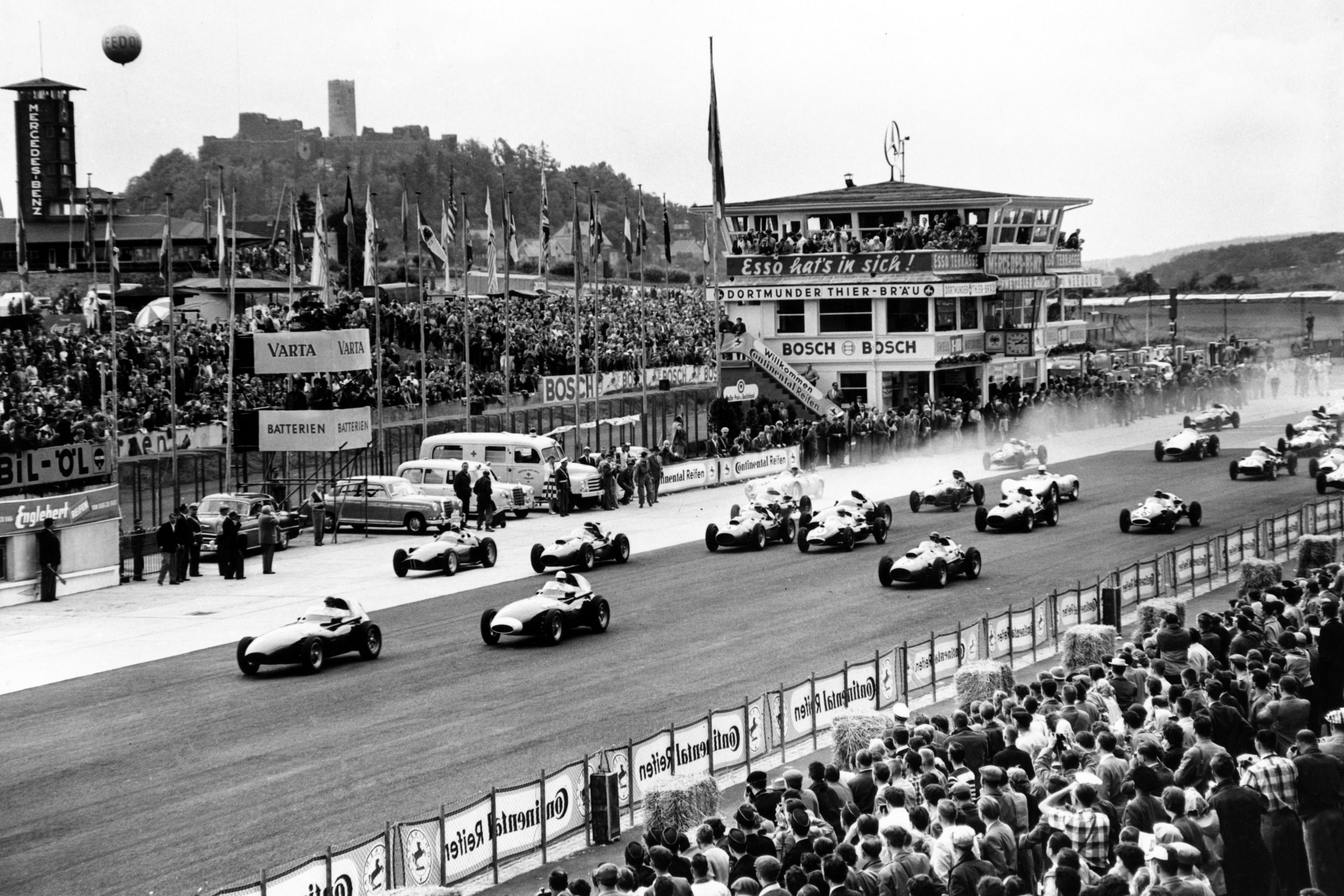 Cars on the grid at the start of the race.