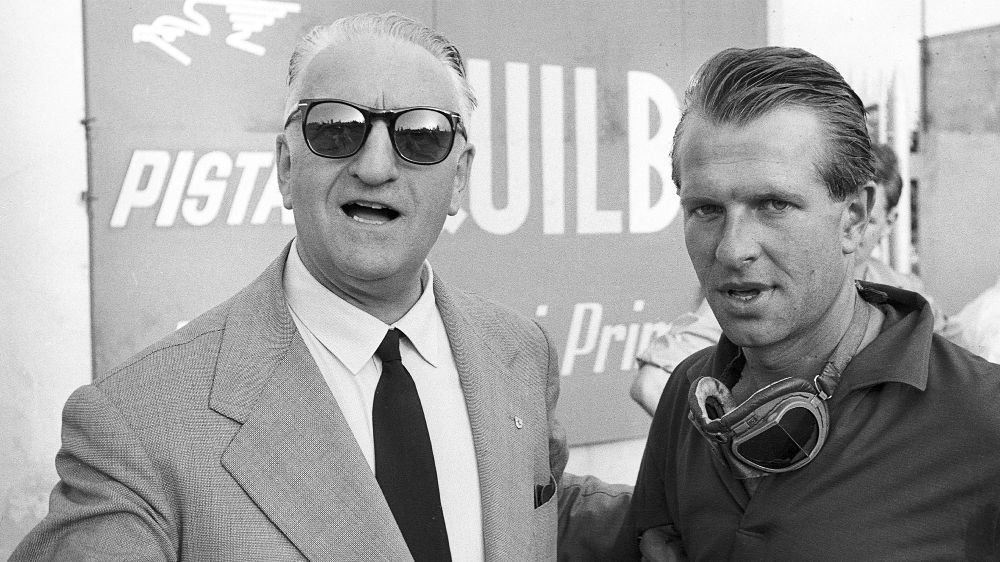 Enzo Ferrari, Peter Collins, Grand Prix of Italy, Monza, 02 September 1956. Enzo Ferrari and Peter Collins. (Photo by Bernard Cahier/Getty Images)