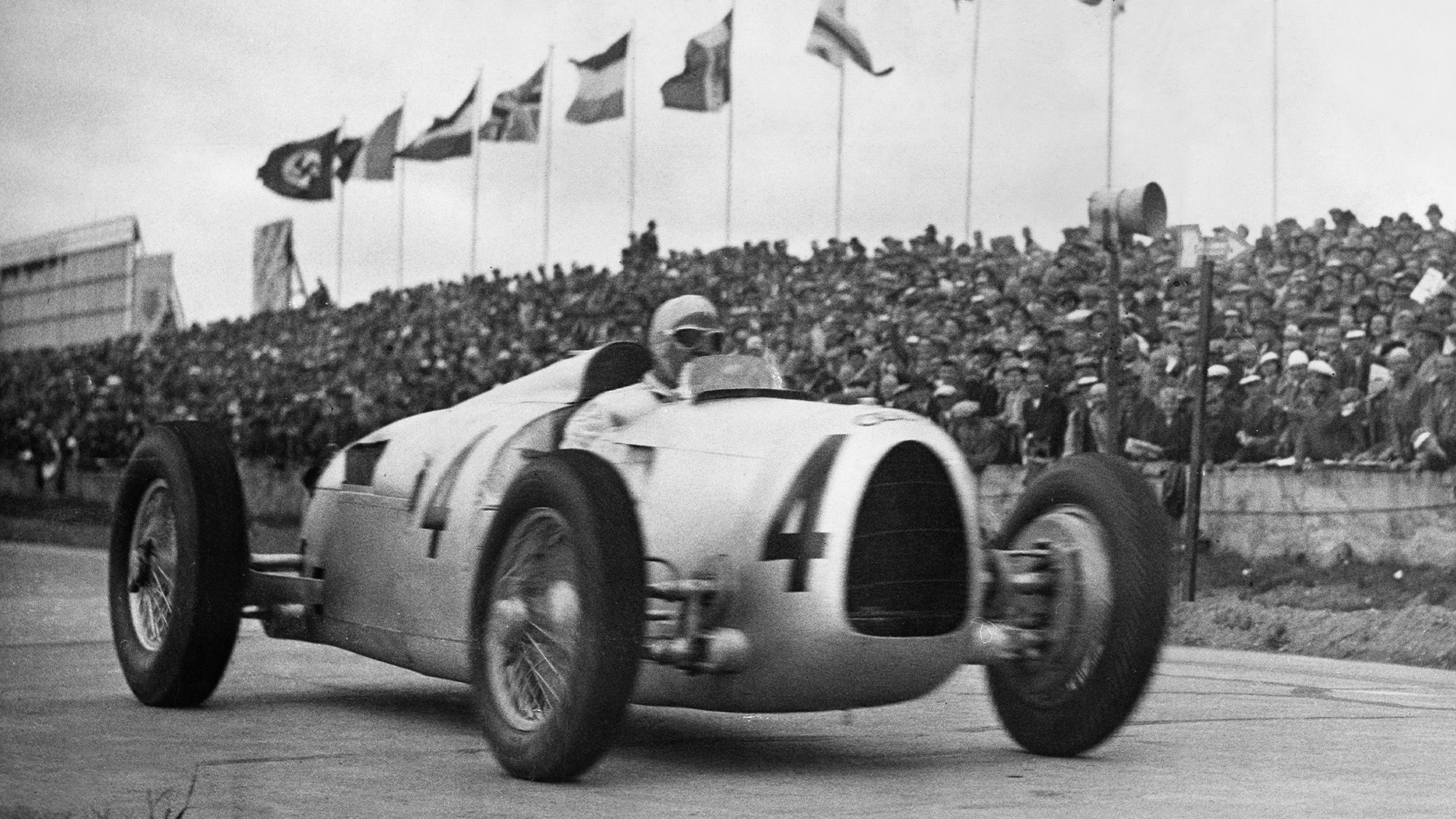 Bernd Rosemeyer for Auto Union in the 1936 German Grand Prix at the Nurburgring