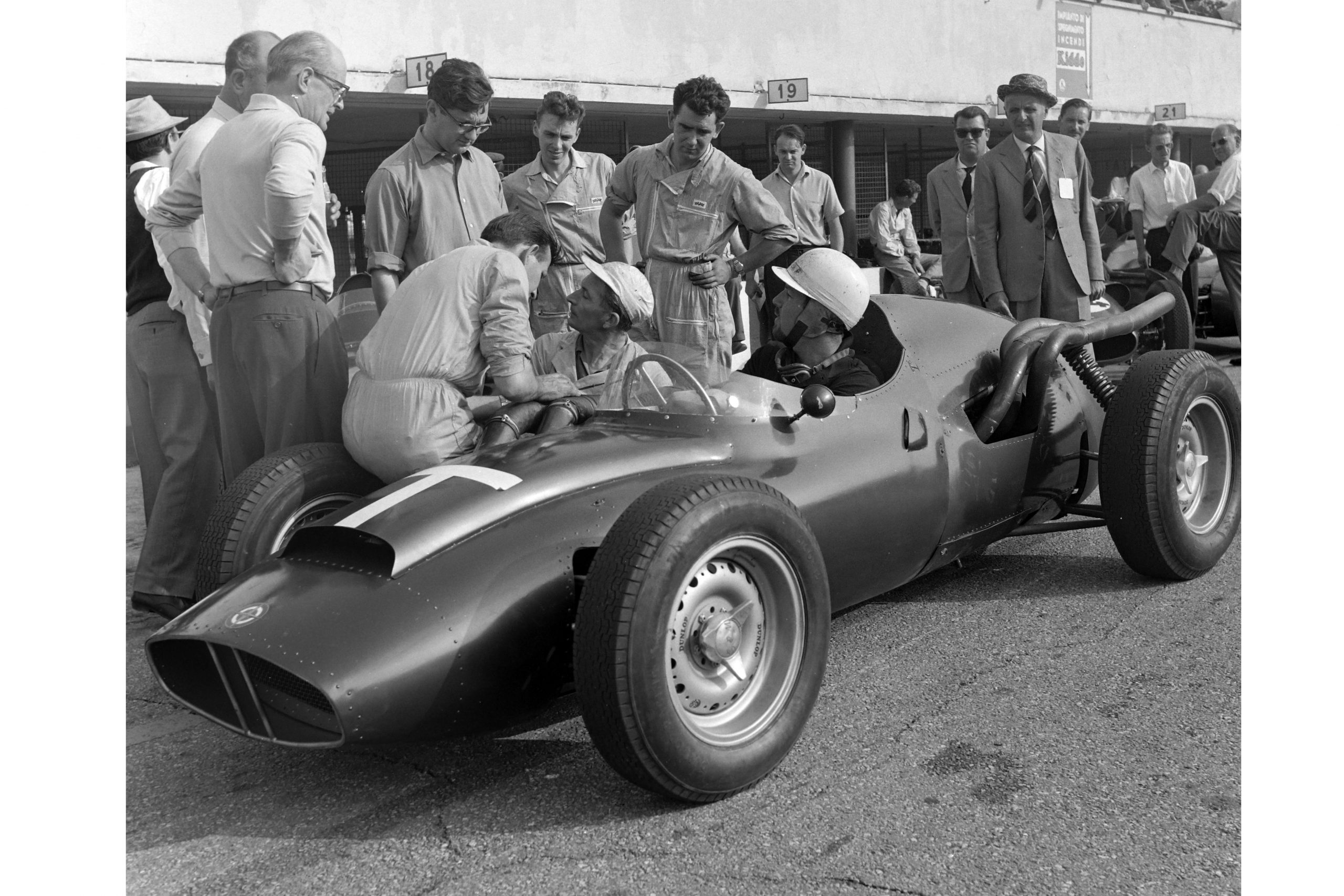 Jo Bonnier in the BRM P25 'T' car in the pits