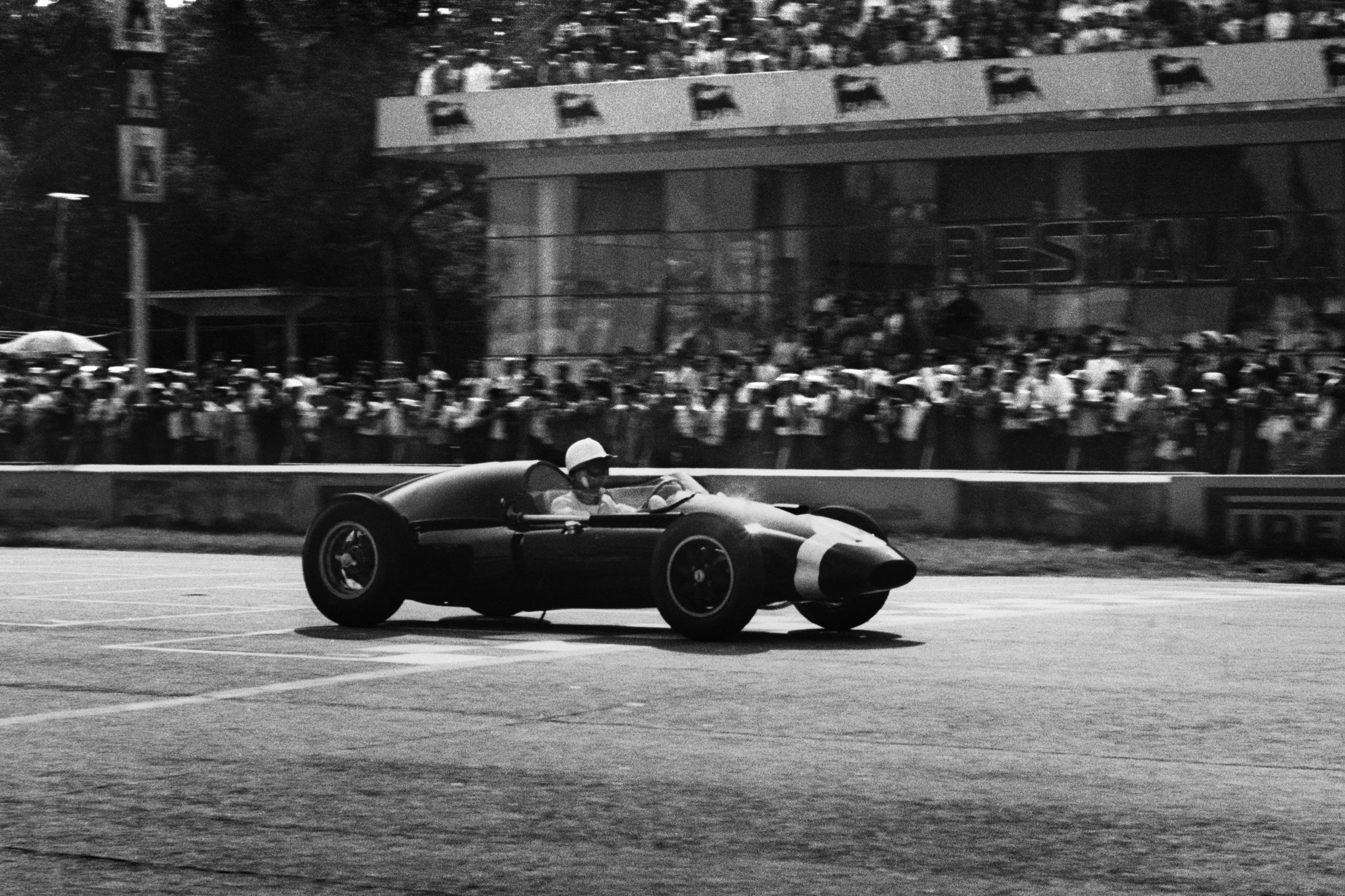 Stirling Moss flying in his Cooper T51-Climax
