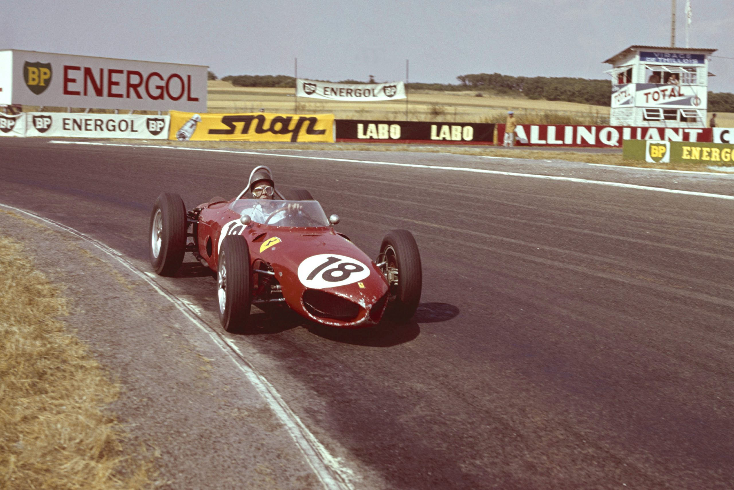 Richie Ginther at the wheel of a Ferrari Dino 156.