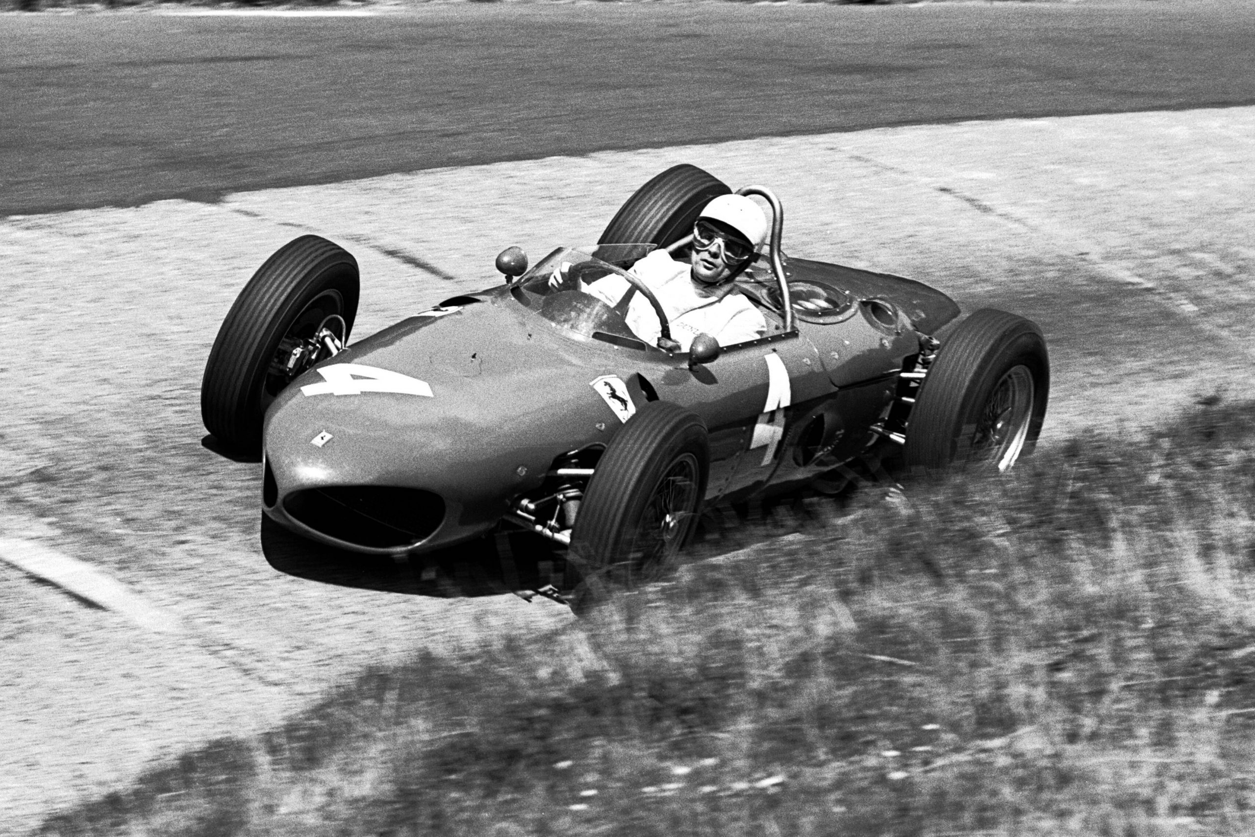 Phil Hill at the Karussel in his Ferrari 156.
