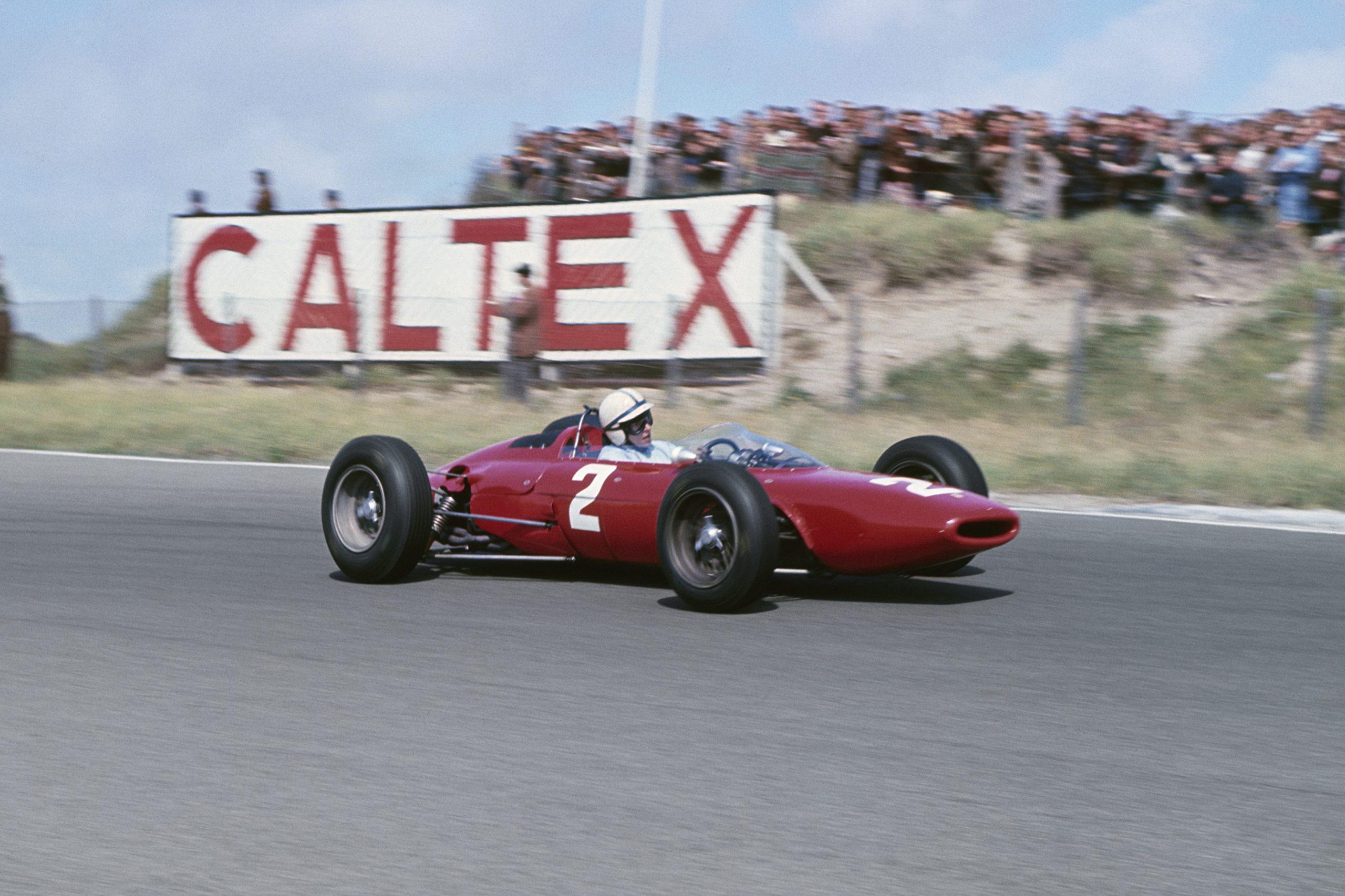 John Surtees at the wheel of his Ferrari Dino 156.
