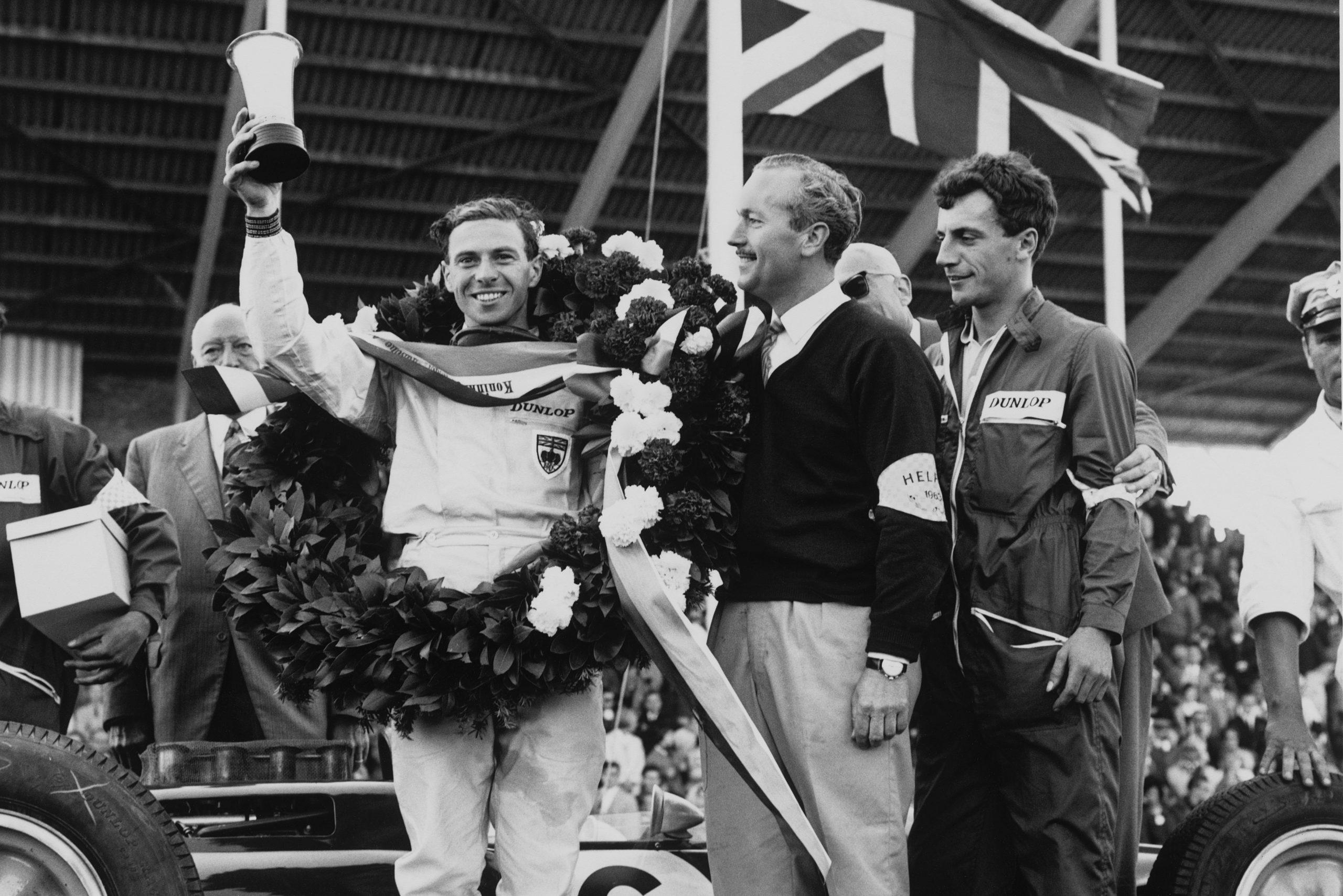Winner Jim Clark on the podium with Colin Chapman.