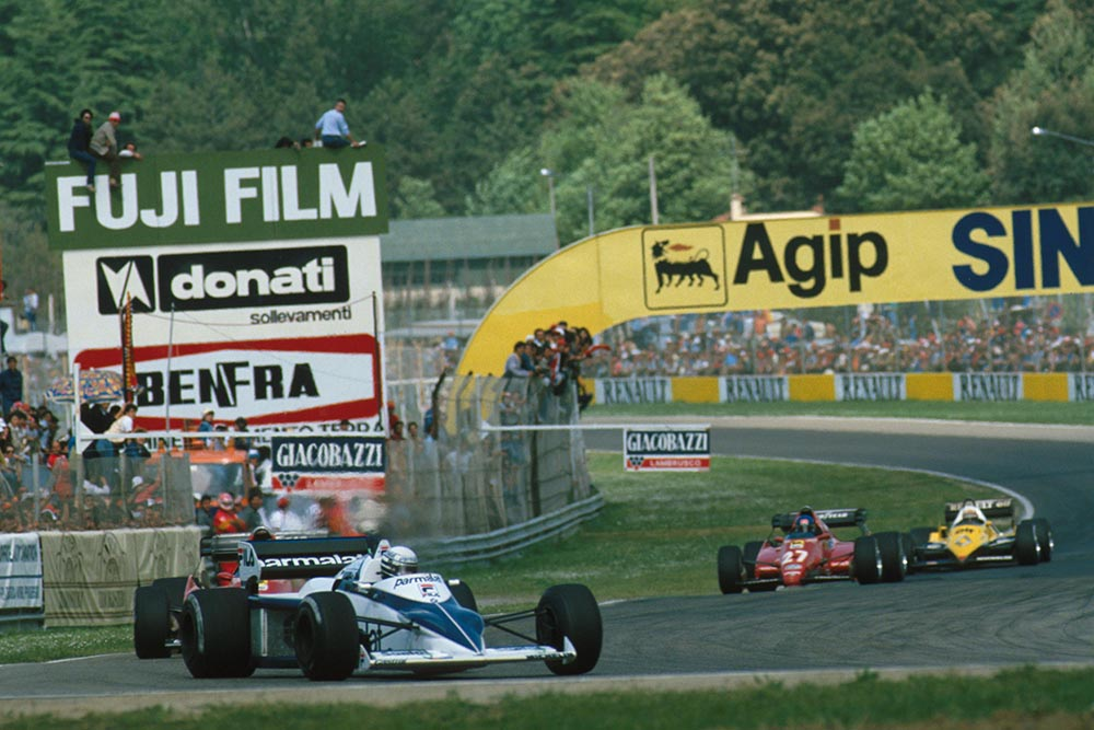 The Brabham of Riccardo Patrese leads the two Ferrari's of Rene Arnoux and race winner Patrick Tambay with the Renault of Alain Prost not too far behind.