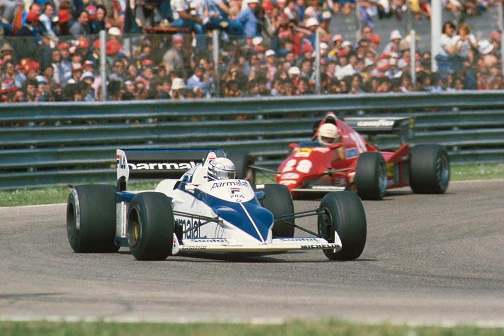 Riccardo Patrese's Brabham leads the Ferrari of Rene Arnoux.