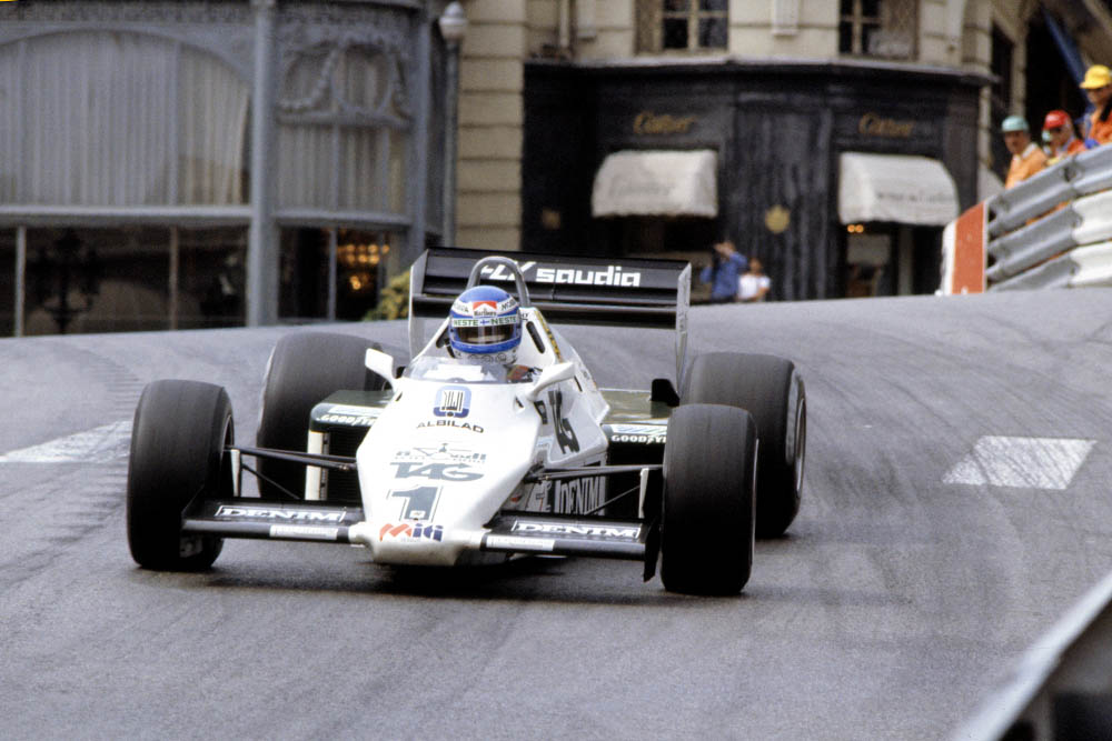 Race winner Keke Rosberg in his Williams FW08C-Ford Cosworth.