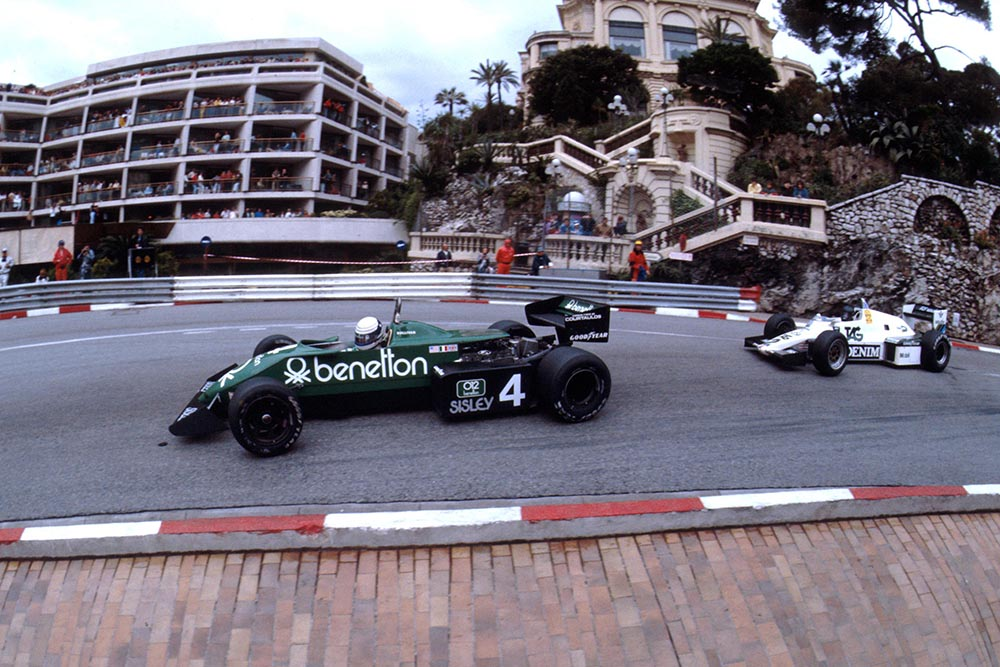 Danny Sullivan's Tyrrell leads Jacques Laffite's Williams.