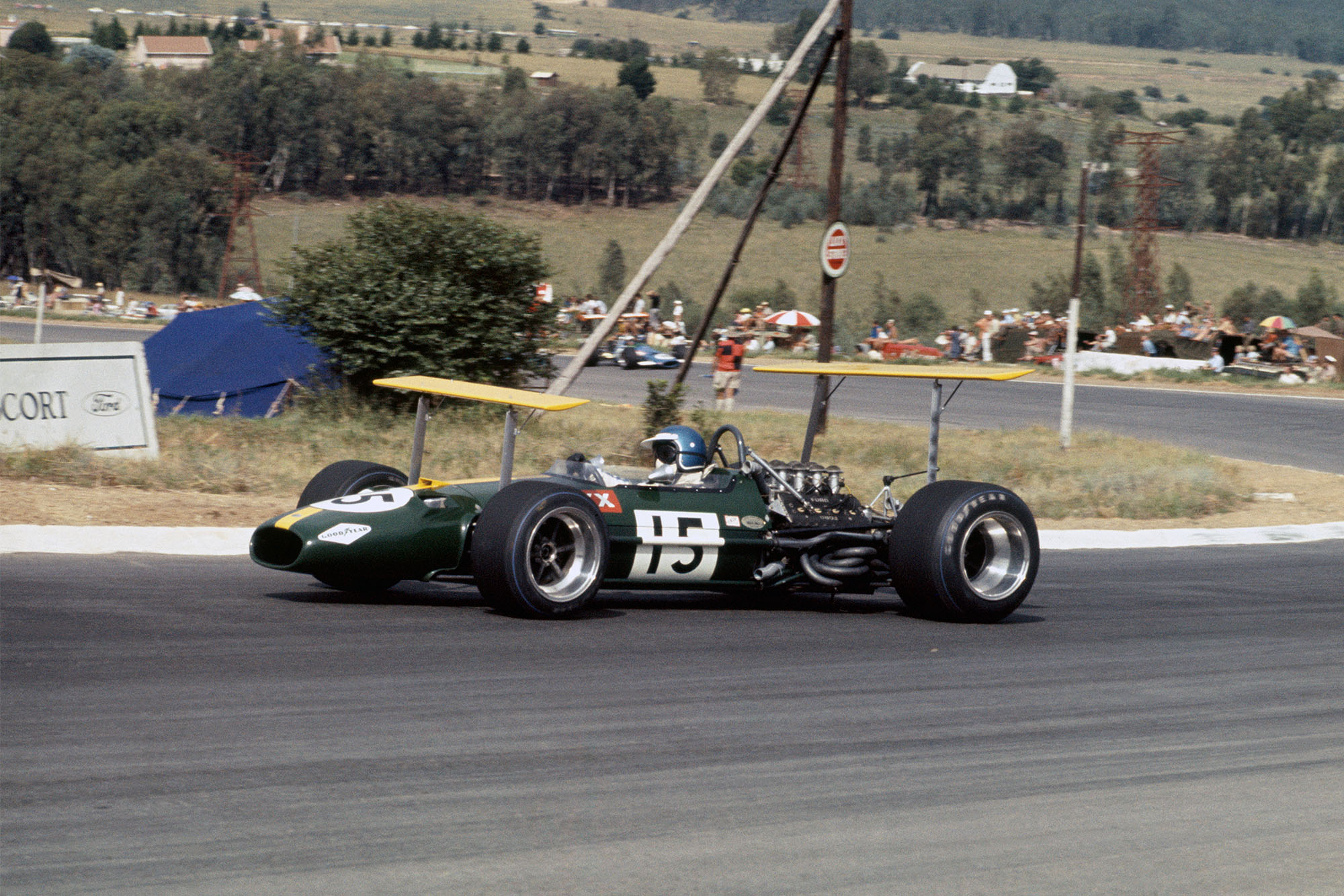 Jack Brabham in his Brabham at the 1969 South African grand Prix