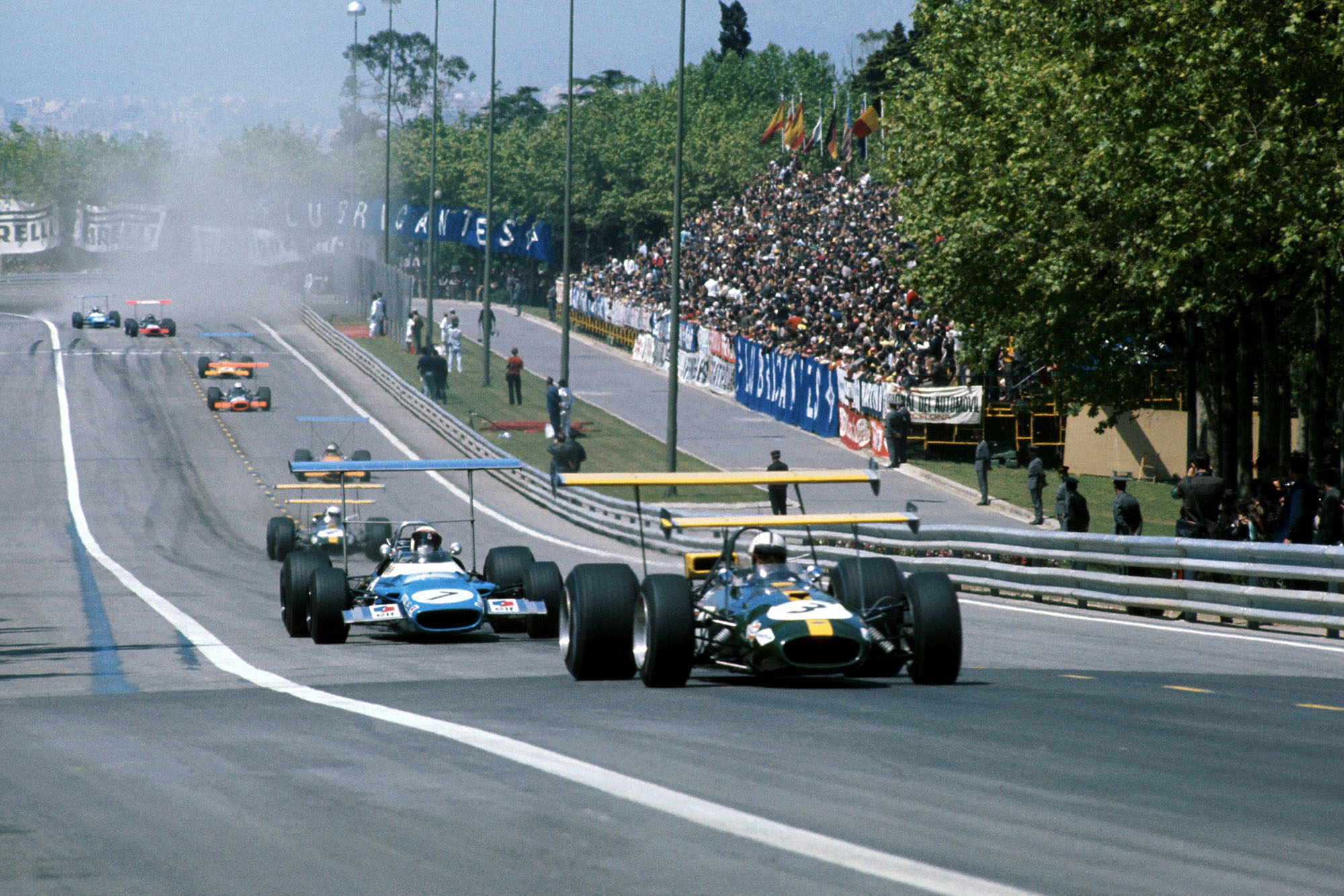 Jack Brabham leads the pack at the 1969 Spanish Grand Prix.