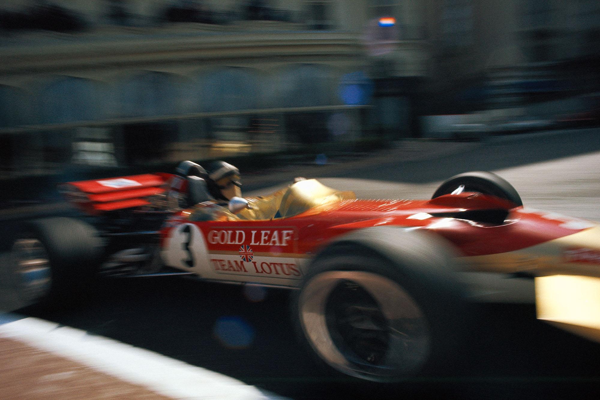 Jochen Rindt flashes past the camera at the 1970 Monaco Grand Prix.