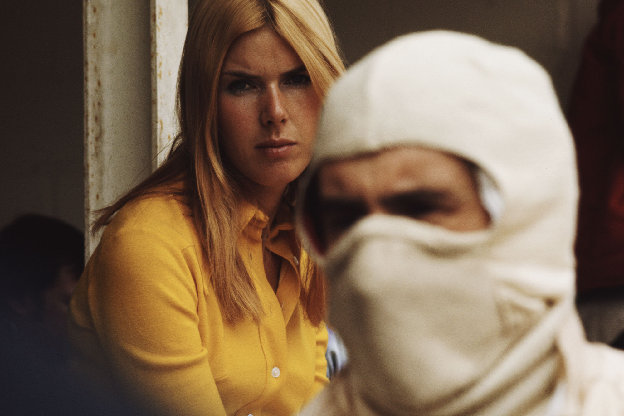Helen Stewart looks over her husband Jackie at the 1970 Belgian Grand Prix