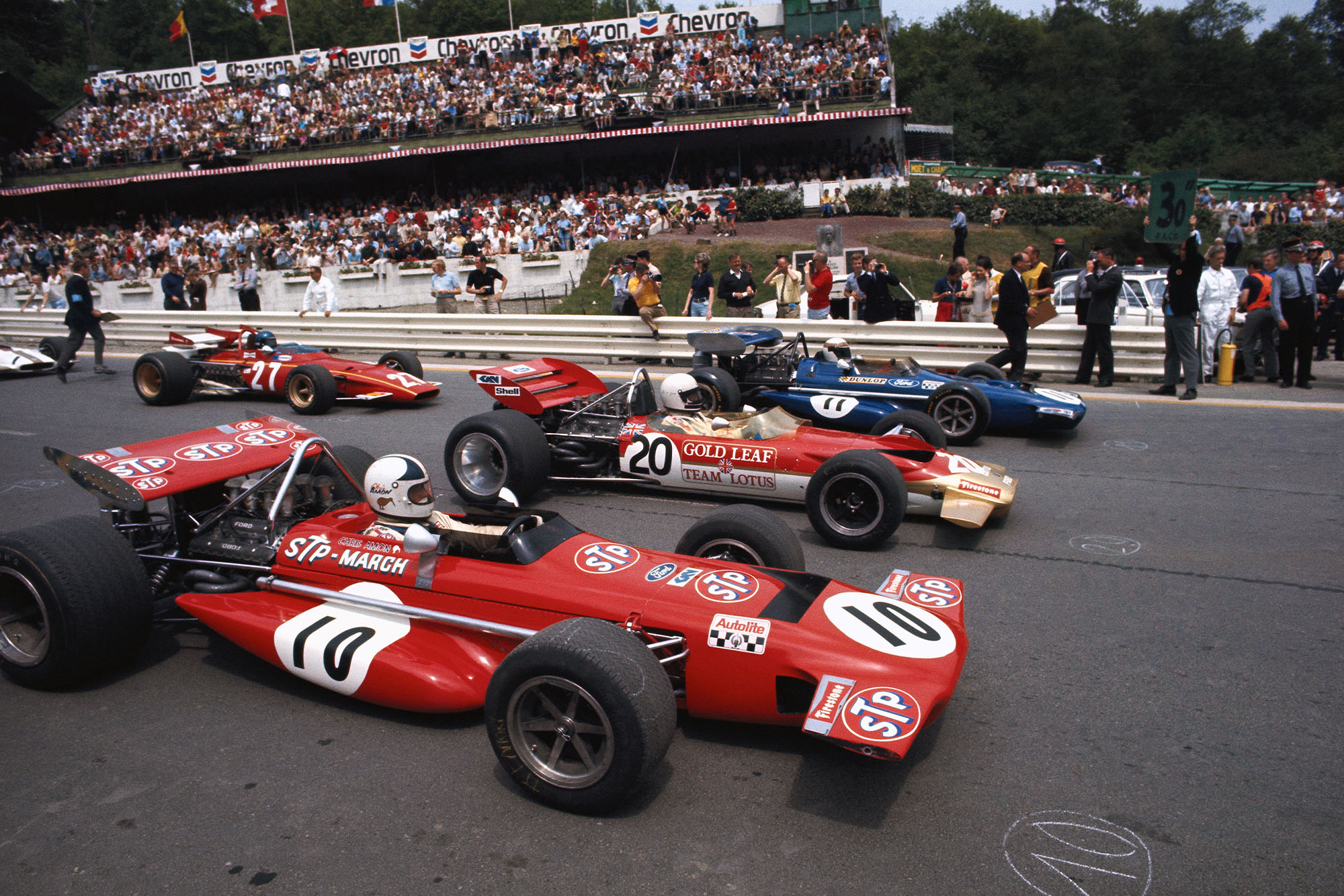 The cars line up on the starting grid of the 1970 Belgian Grand Prix