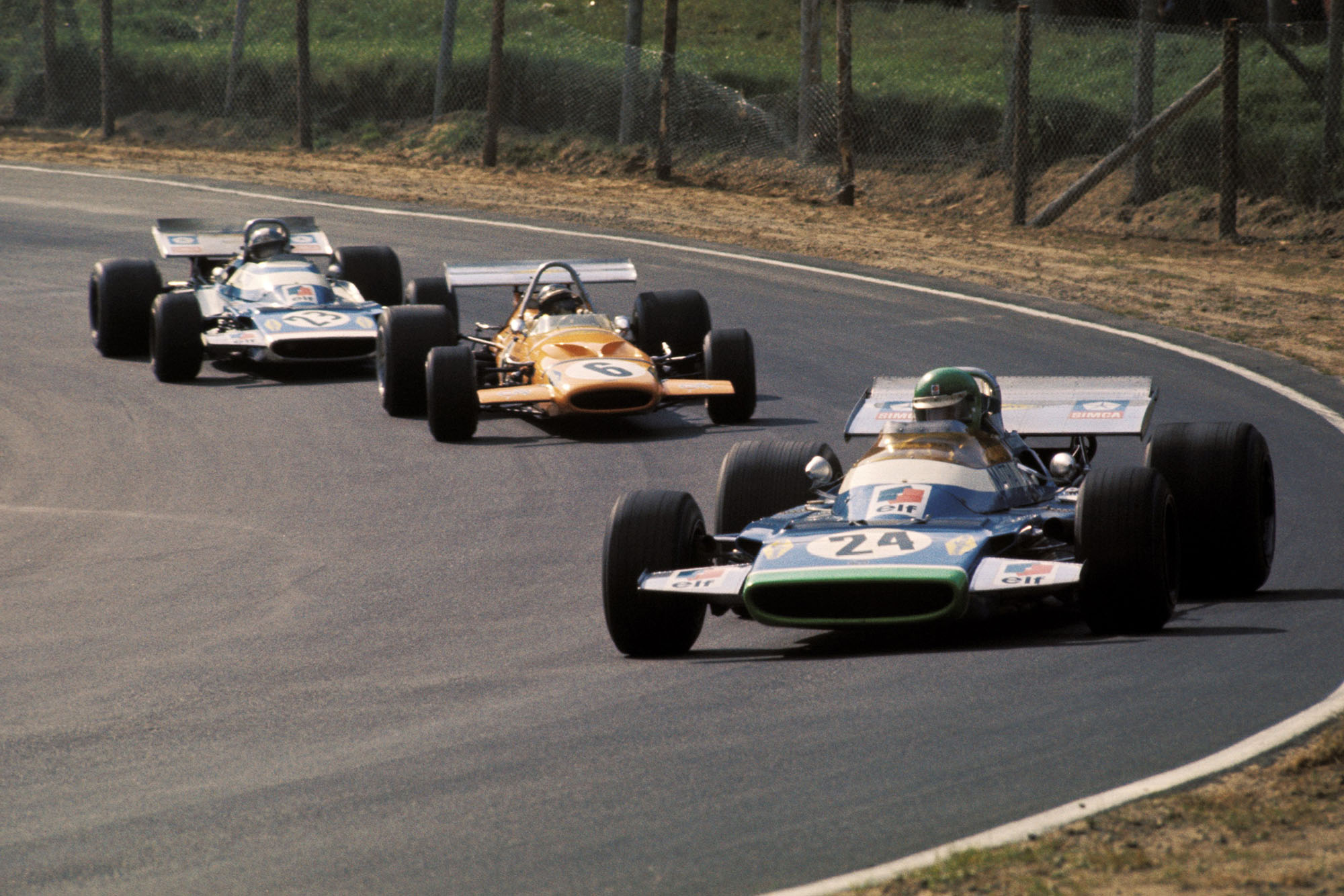 Henri Pescarolo leads the midfield pack in his Matra at the 1970 Canadian Grand Prix.