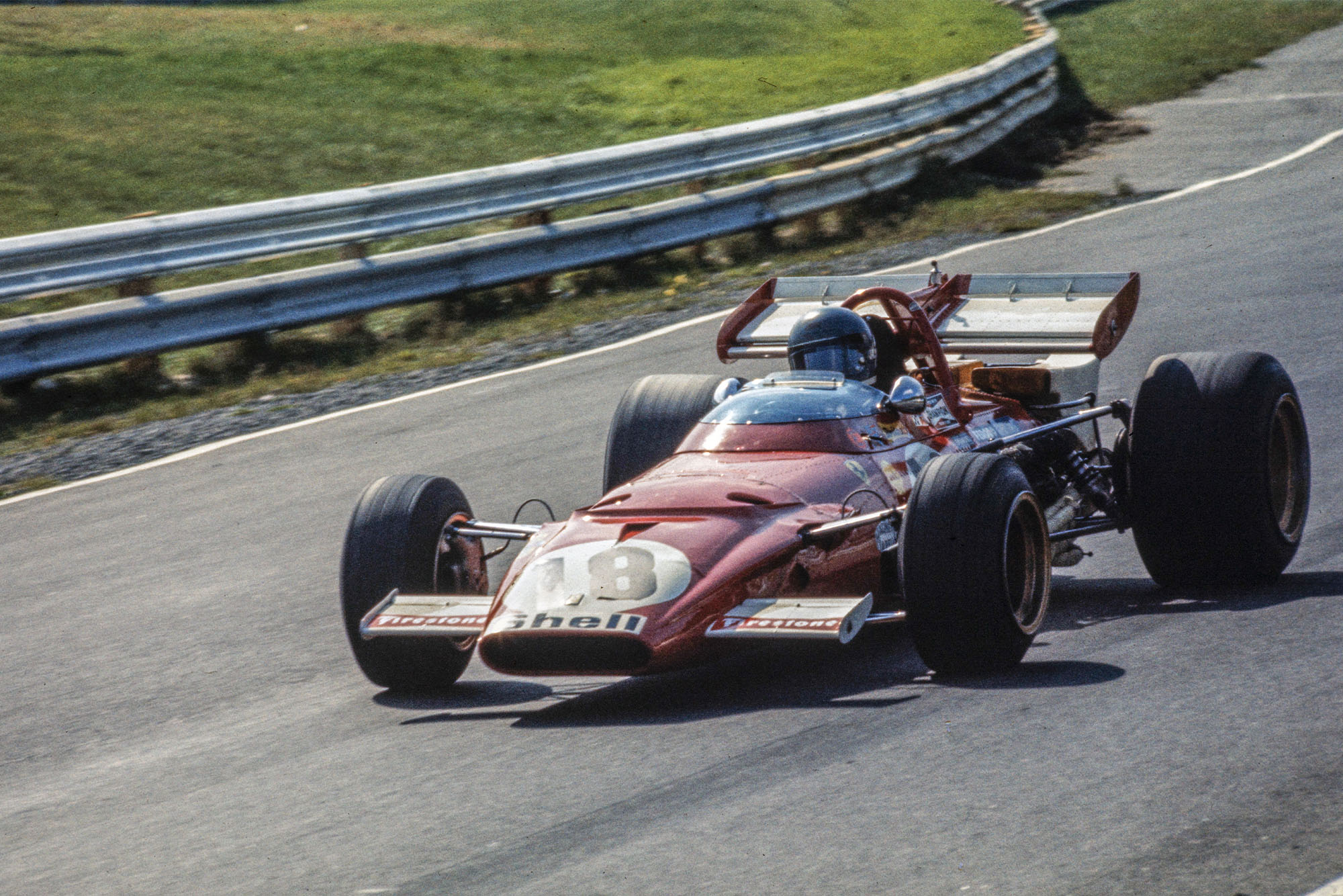 Jacky Ickx driving for Ferrari at the 1970 Canadian Grand Prix.