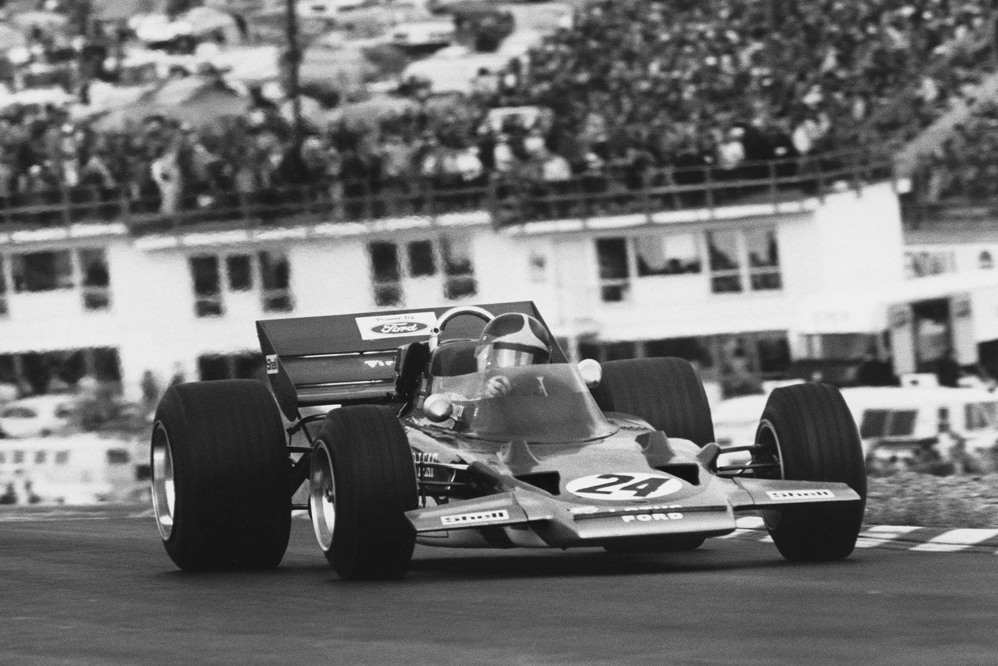 Emerson Fittipaldi driving for Lotus at the 1970 United States Grand Prix