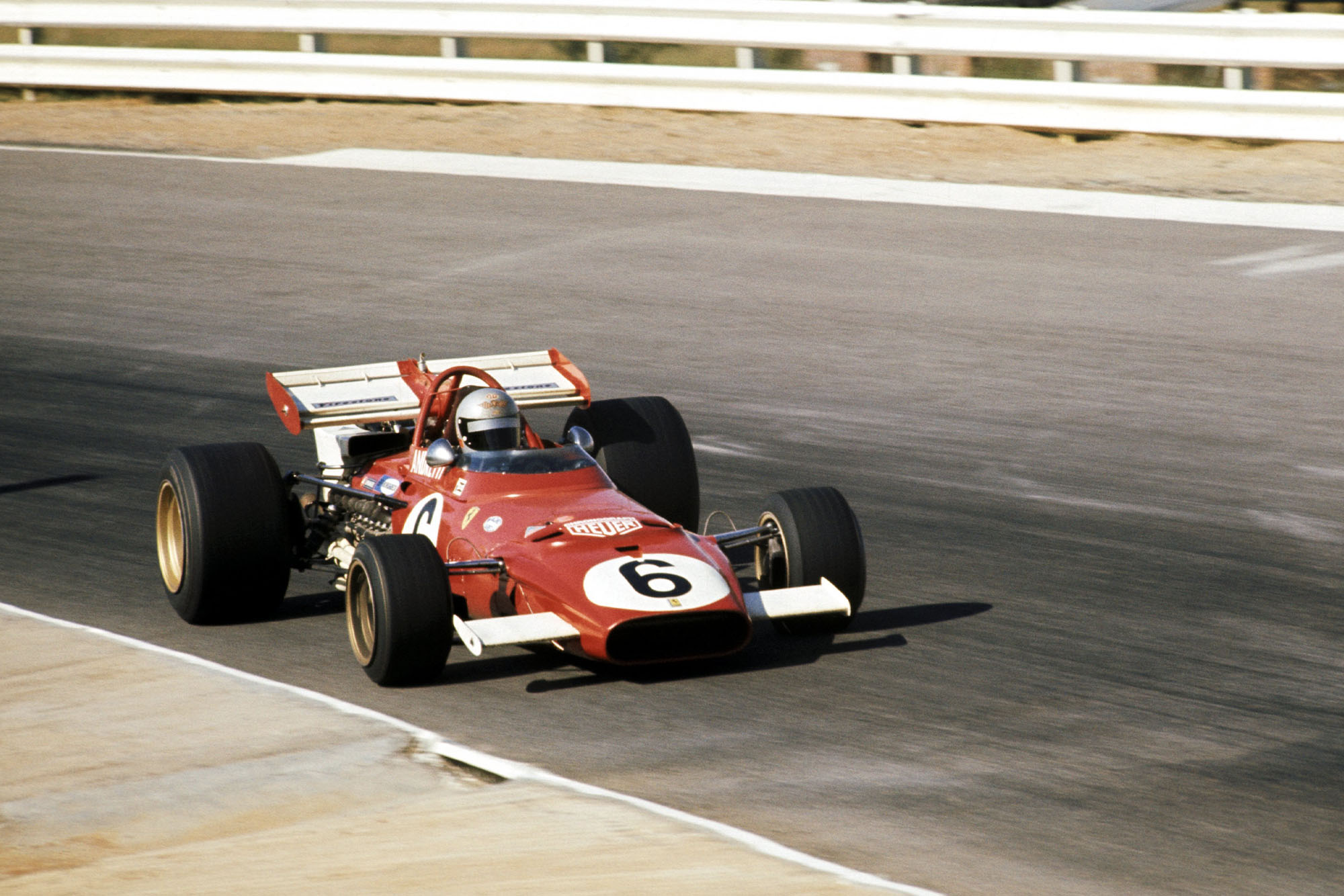 Mario Andretti driving for Ferrari at the 1971 South African Grand Prix.