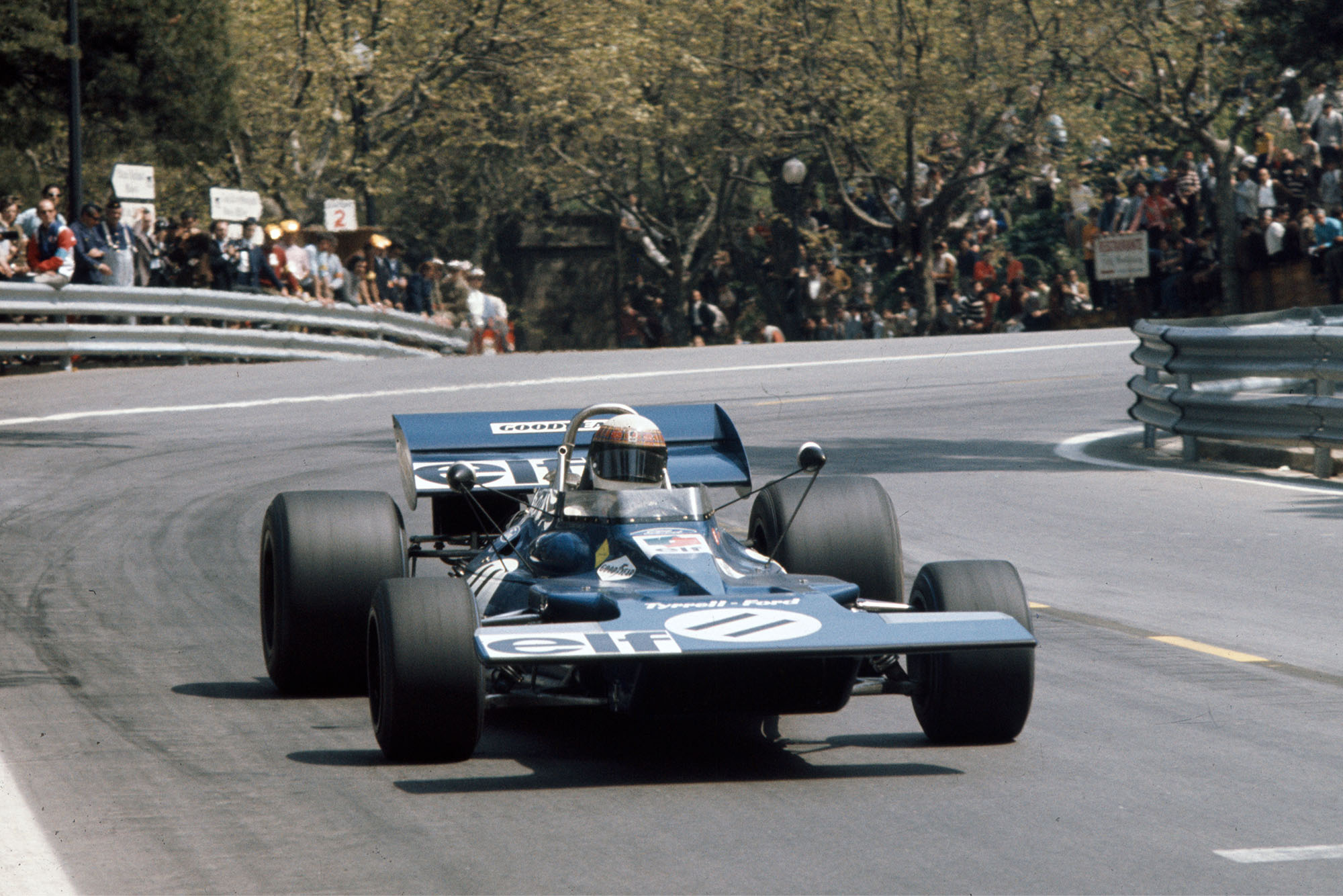 Jackie Stewart driving his Tyrrell at the 1971 Spanish Grand Prix