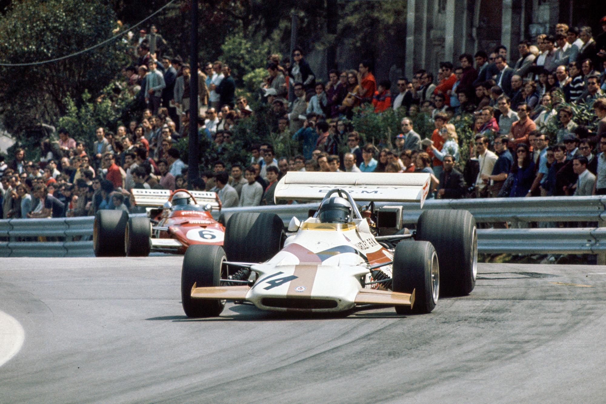 BRM's Pedro Rodriguez leads the Ferrari of Mario Andretti