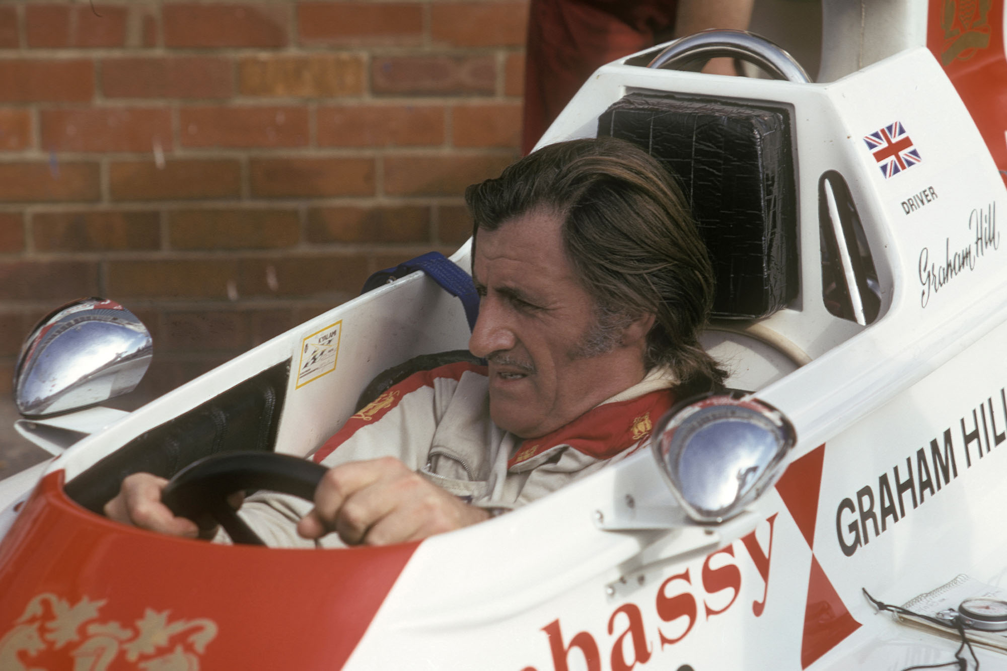 Graham Hill in his Lola Hill-Ford in the pits during practice for the 1974 South African Grand Prix in Kyalami. Photo: Grand Prix Photo