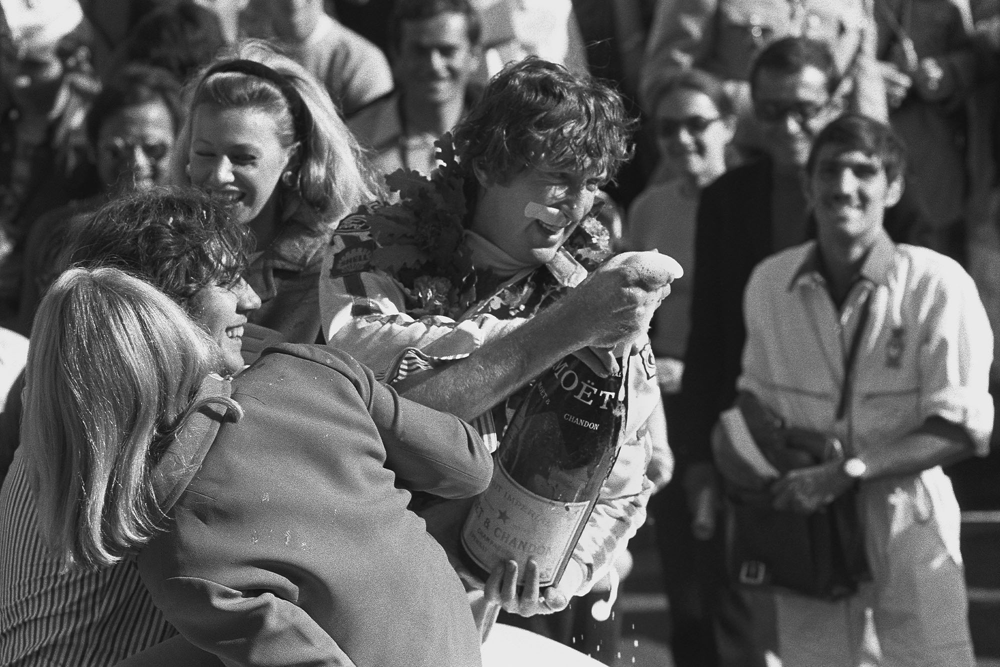 Jochen Rindt celebrates winning the 1970 French Grand Prix.