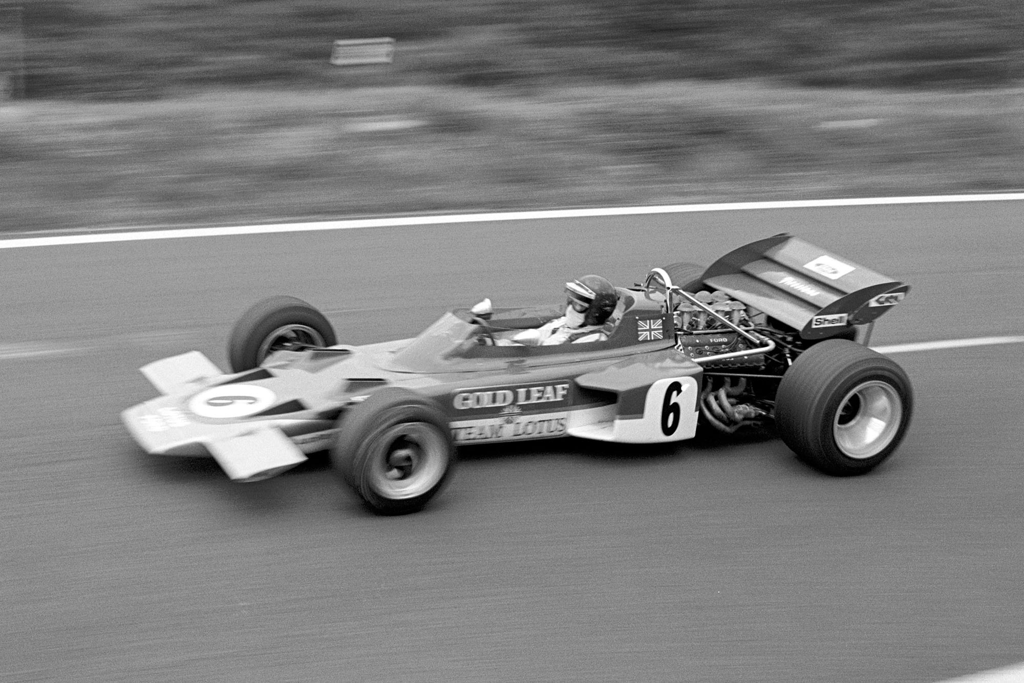 Jochen RIndt driving for Lotus at the 1970 French Grand Prix.