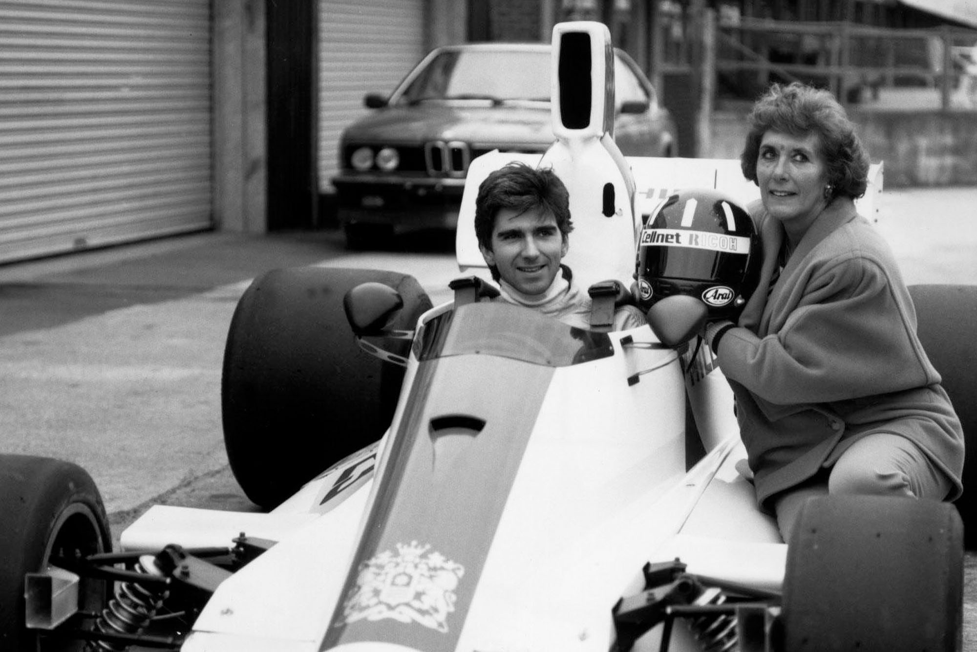 Damon Hill Formula One Grand Prix Motor Racing Car Driver and World Champion 1996 pictured in 1987 with his mother Betty at Silverstone where he drove his father Graham's own Formula One Grand Prix car the Hill GH2 for the first (and probably last) time. (Photo by John Roan /Mirrorpix/Getty Images)