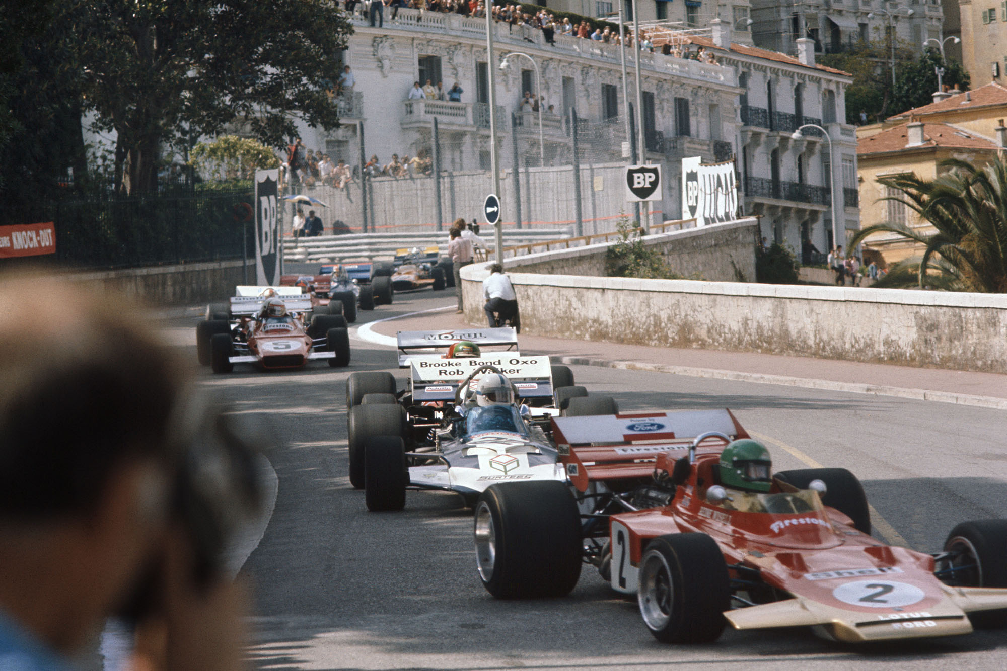 The fields heads into Loews hairpin at the 1971 Monaco Grand Prix