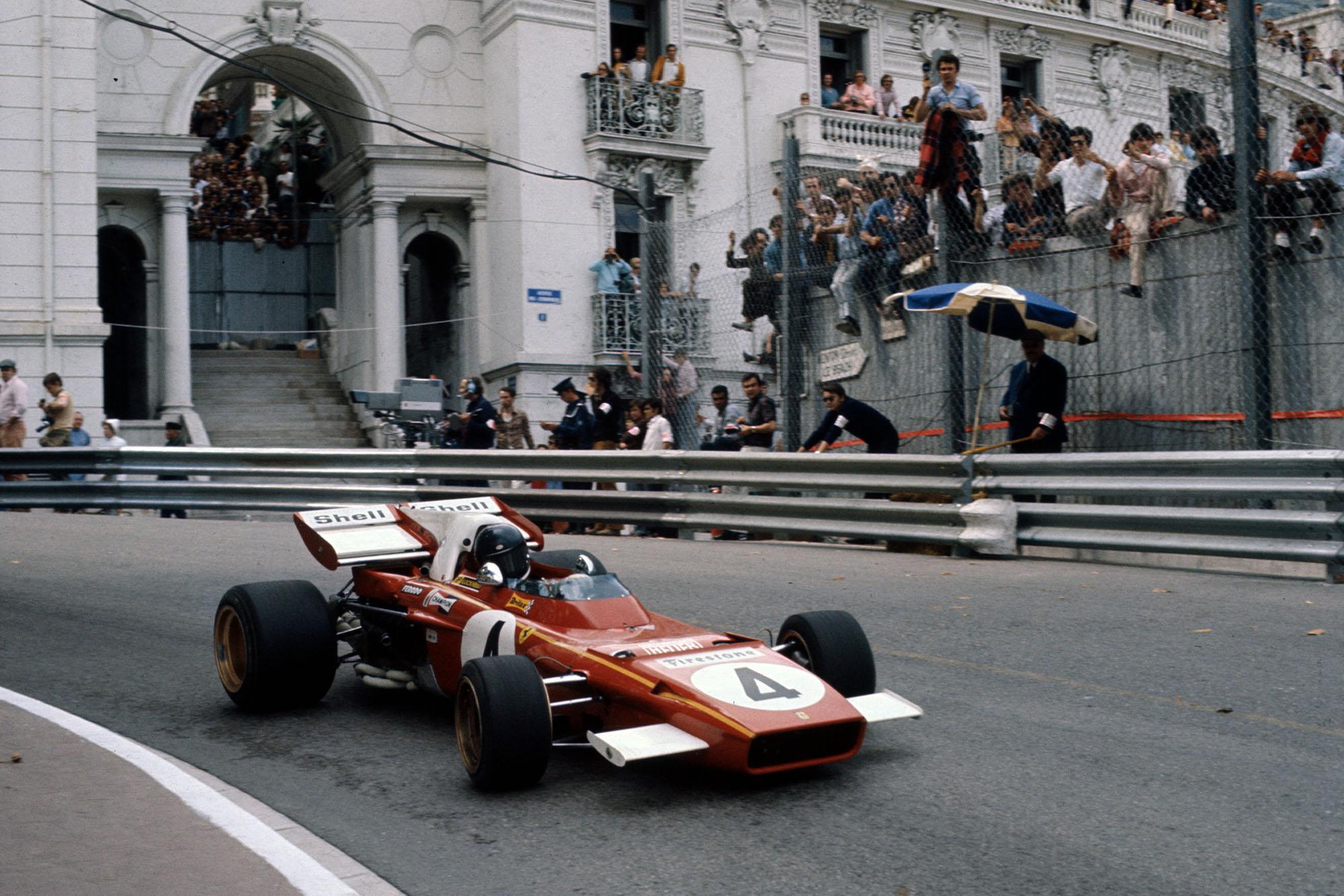Jacky Ickx driving at the 1971 Monaco Grand Prix for Ferrari
