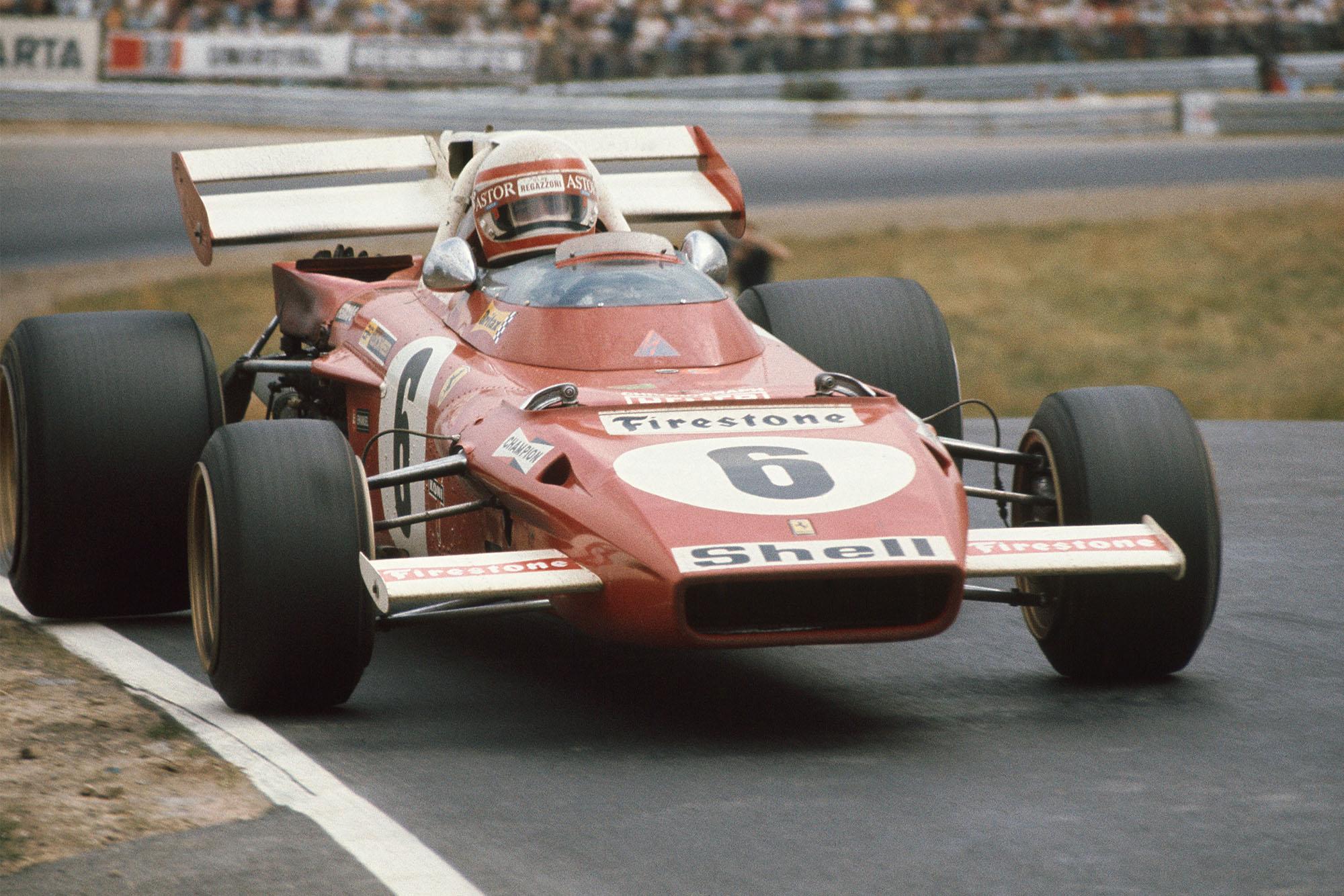 Clay Regazzoni driving his Ferrai at the 1971 German Grand Prix