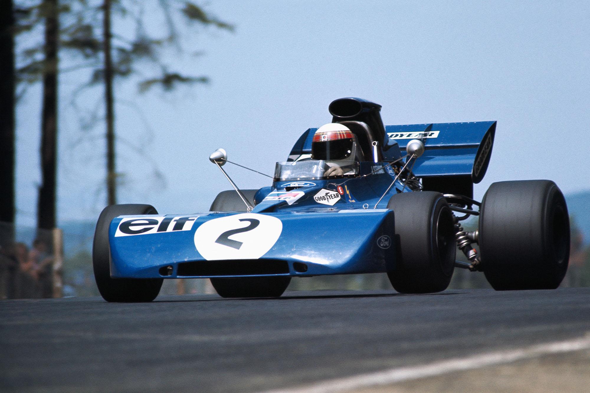 Jackie Stewart takes off through the Flugplatz on his way to winning the 1971 German Grand Prix.