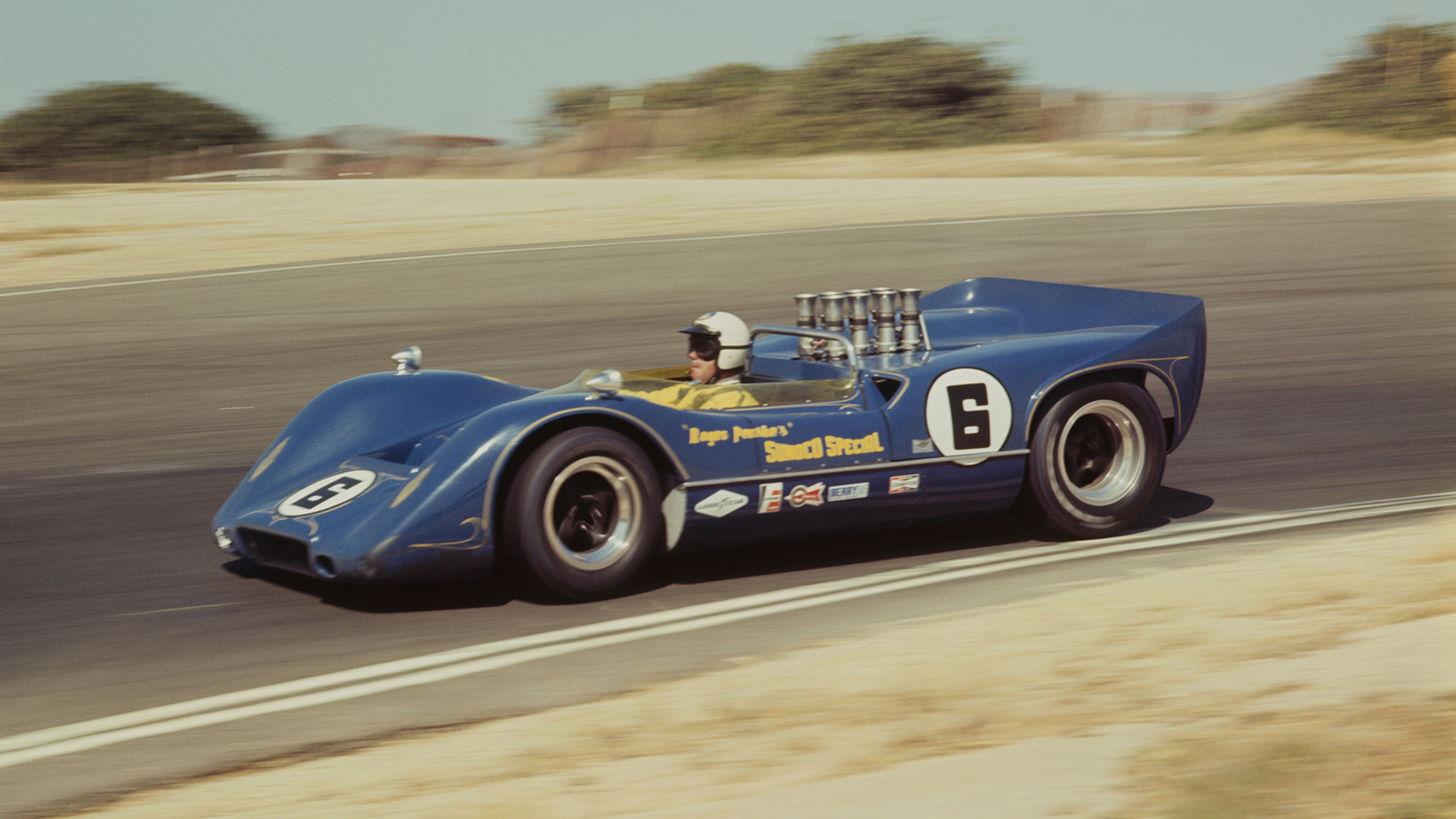 Mark Donohue driving his McLaren M6A to victory at Laguna Seca in the 1968 US Road Racing Championships