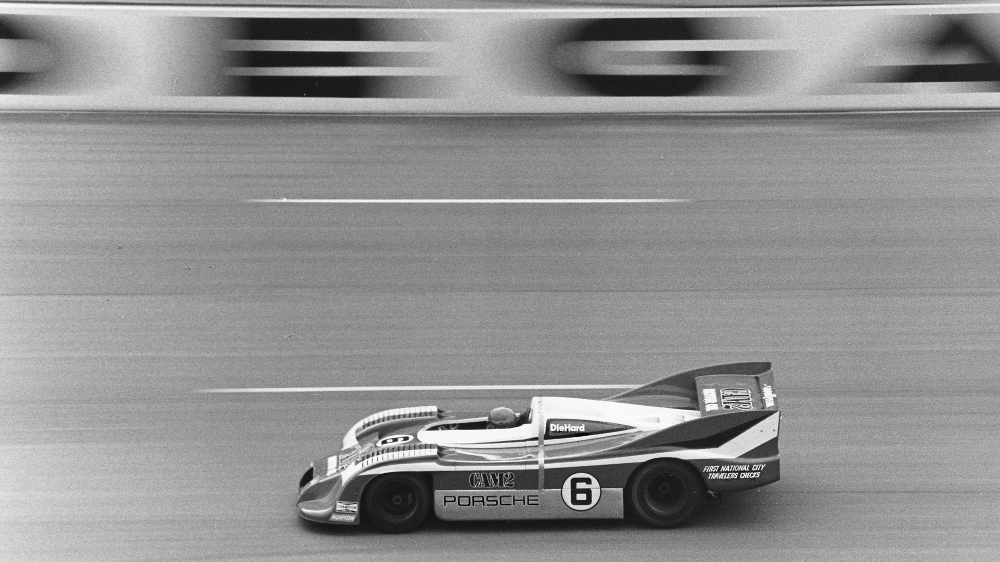 Mark Donohue on his way to setting a world closed-course speed record of 221.160mph at the Alabama International Speedway in a Porsche 917-30 in 1975