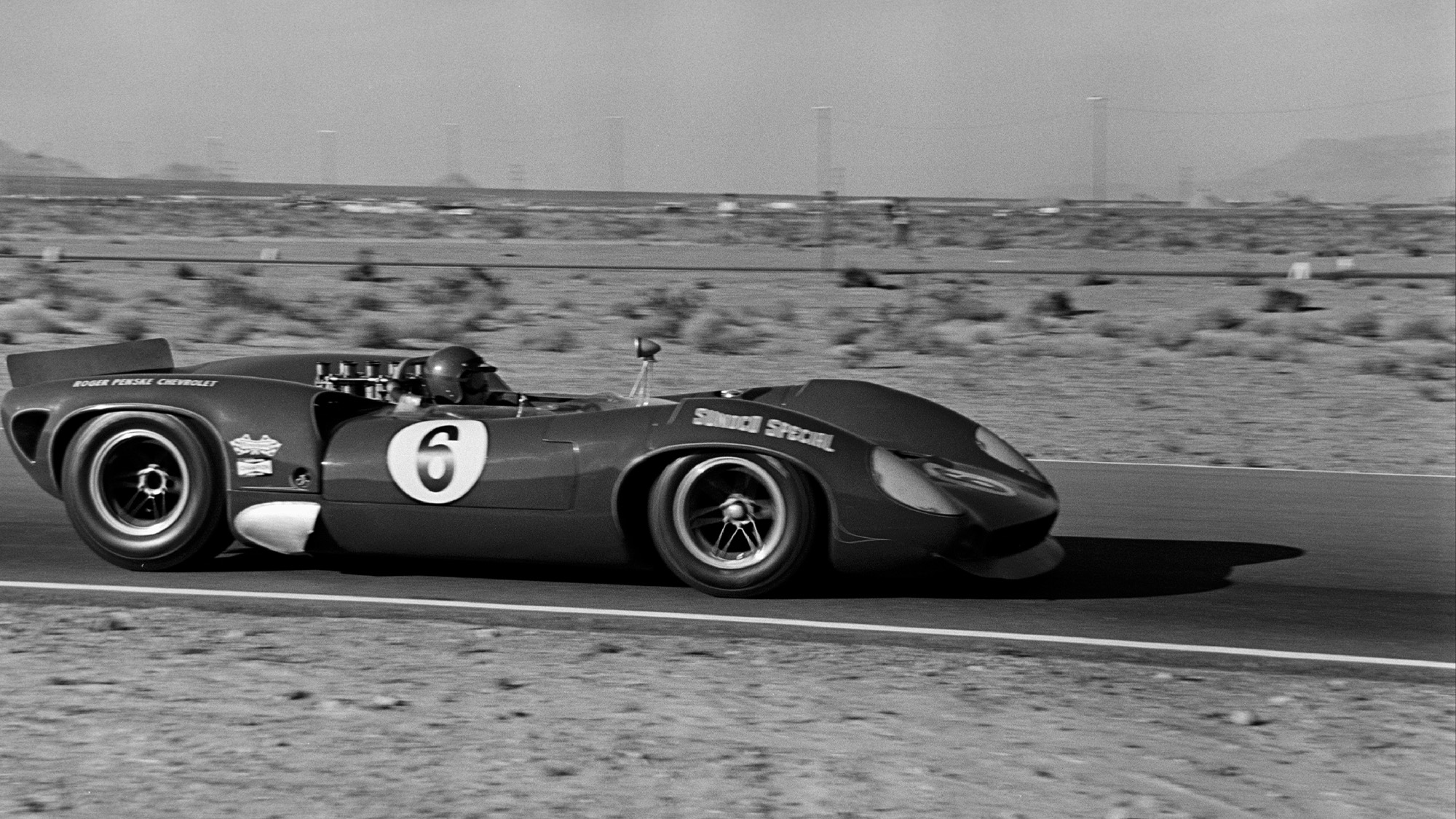 Mark Donohue at the 1966 Stardust Grand Prix in Las Vegas driving a Lola T70 Mk 2