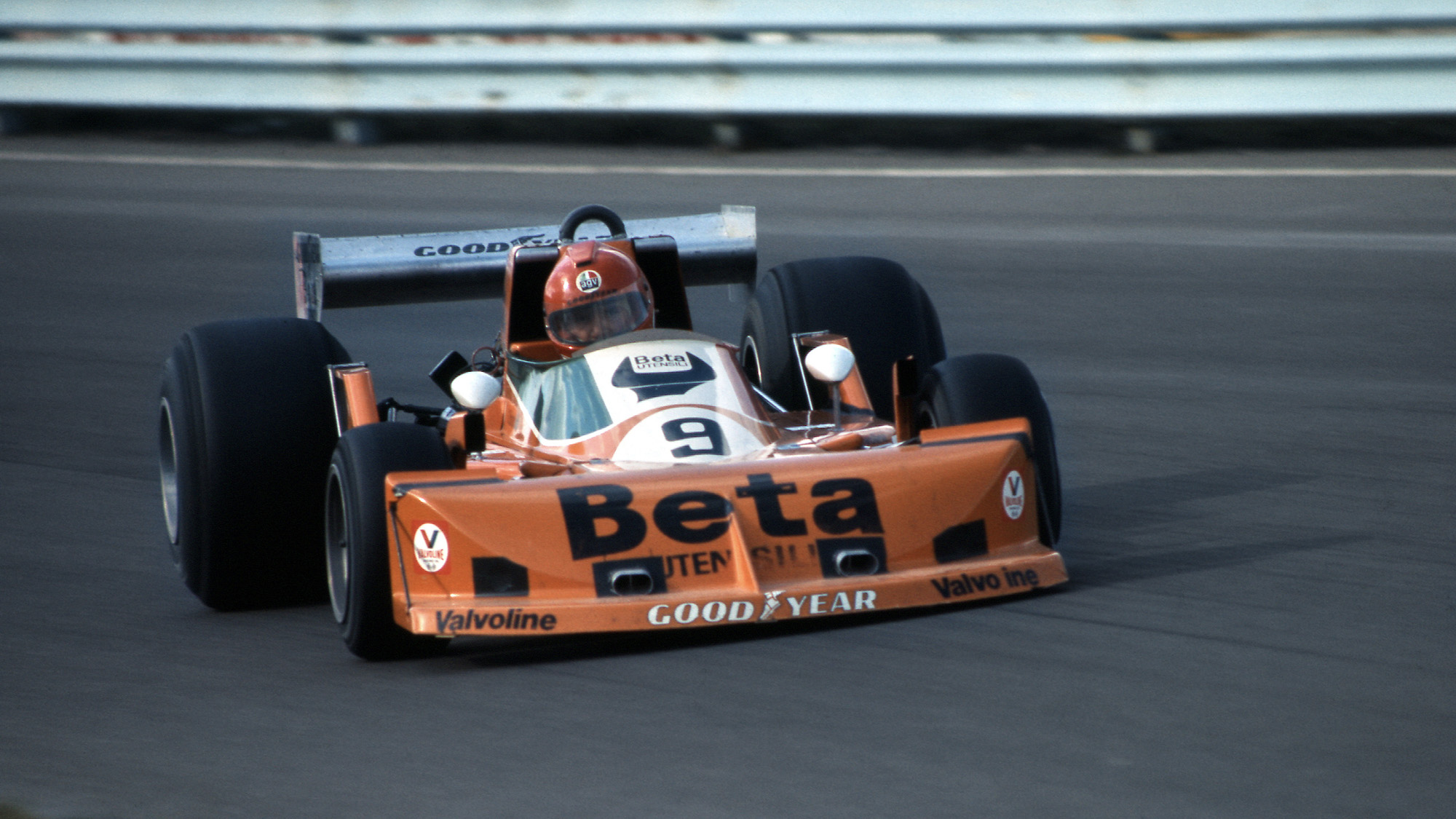 Vittorio Brambilla sliding his March-Ford at Watkins Glen during the 1976 United Stated GP
