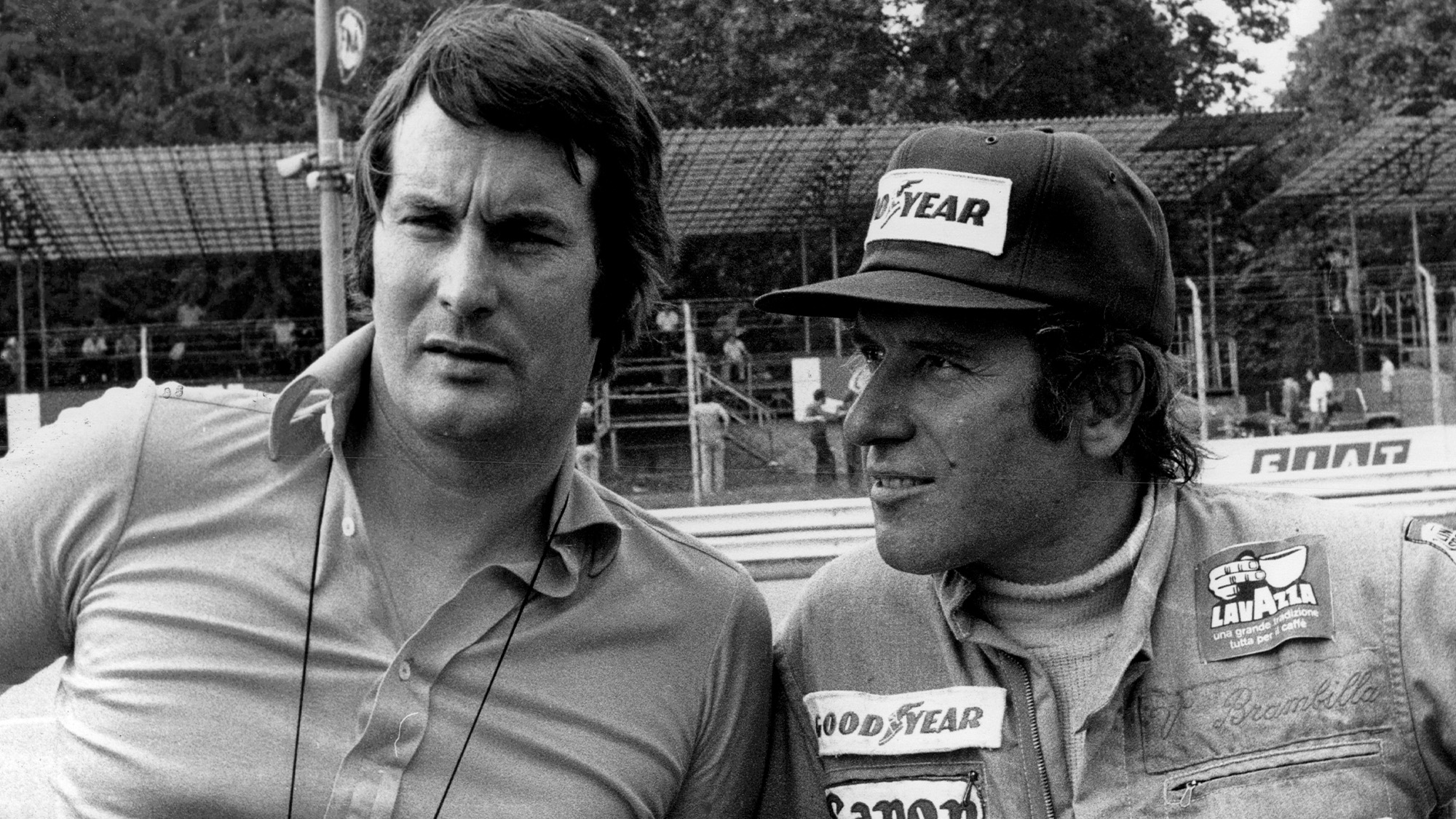 Vittorio Brambilla with Robin Herd at Monza for the 1975 Italian Grand Prix