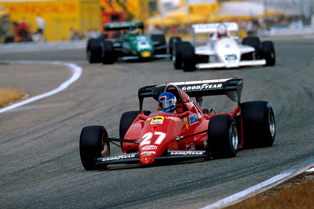 Patrick Tambay in a Ferrari 126C3 retired from the race on lap 12 with a blown engine.