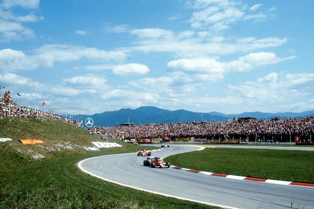 Patrick Tambay leads his Ferrari team mate Rene Arnoux.