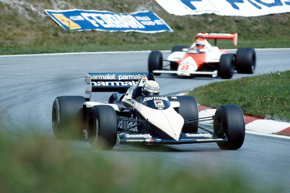 Riccardo Patrese in a Brabham BT52B did not finish.