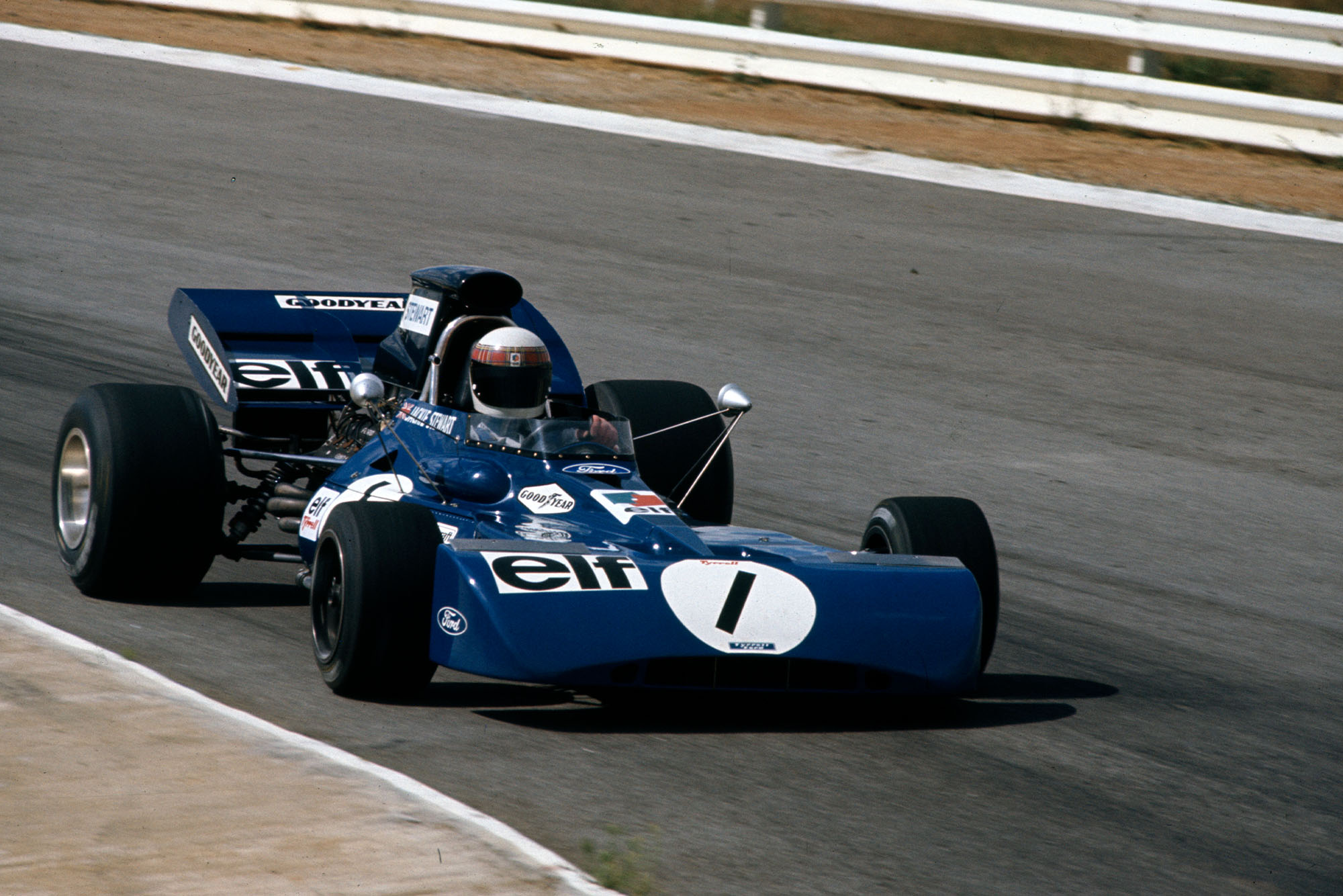 Jackie Stewart driving for Tyrrell at the 1972 South African Grand Prix.