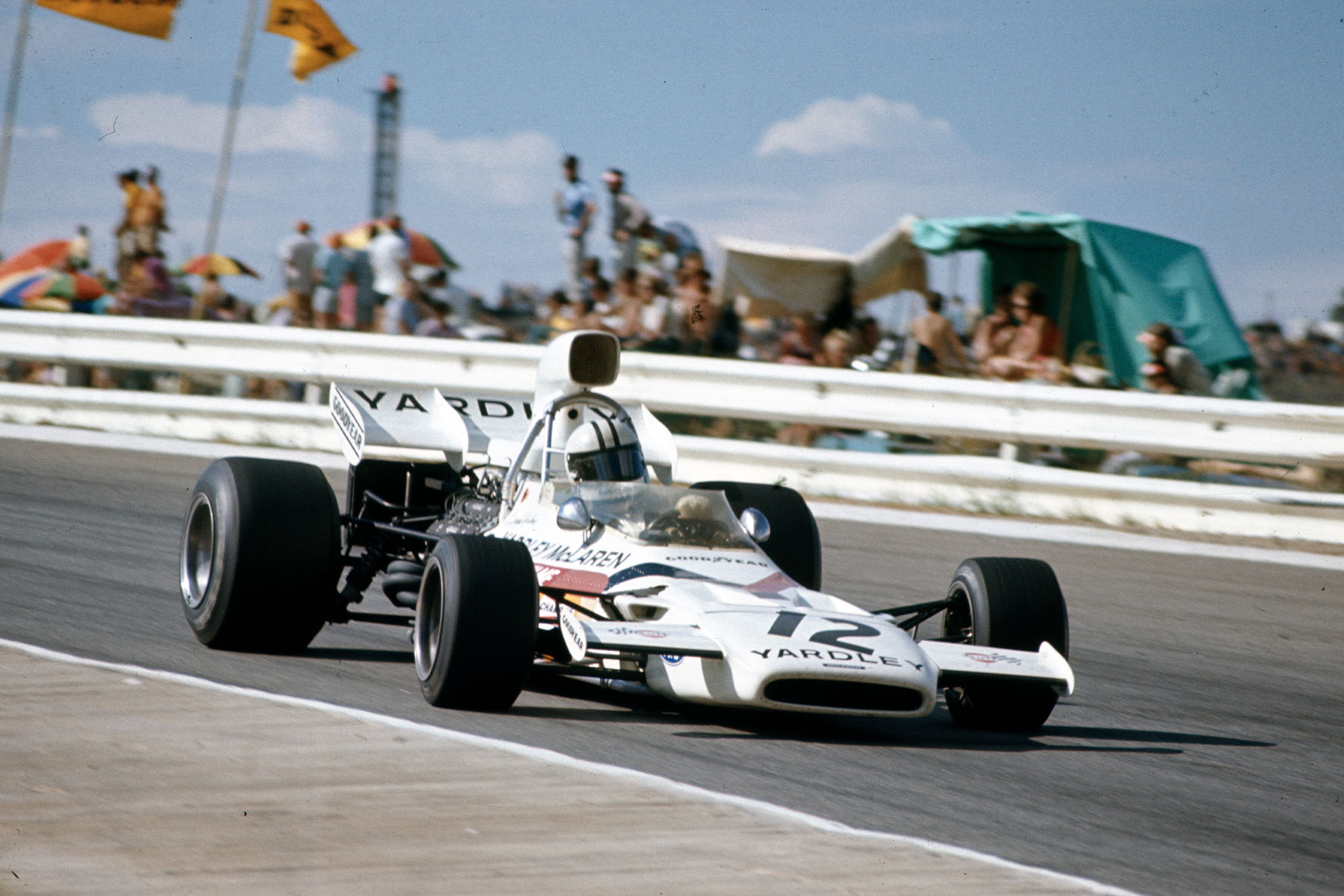 Denny Hulme driving for McLAren at the 1972 South African Grand Prix.