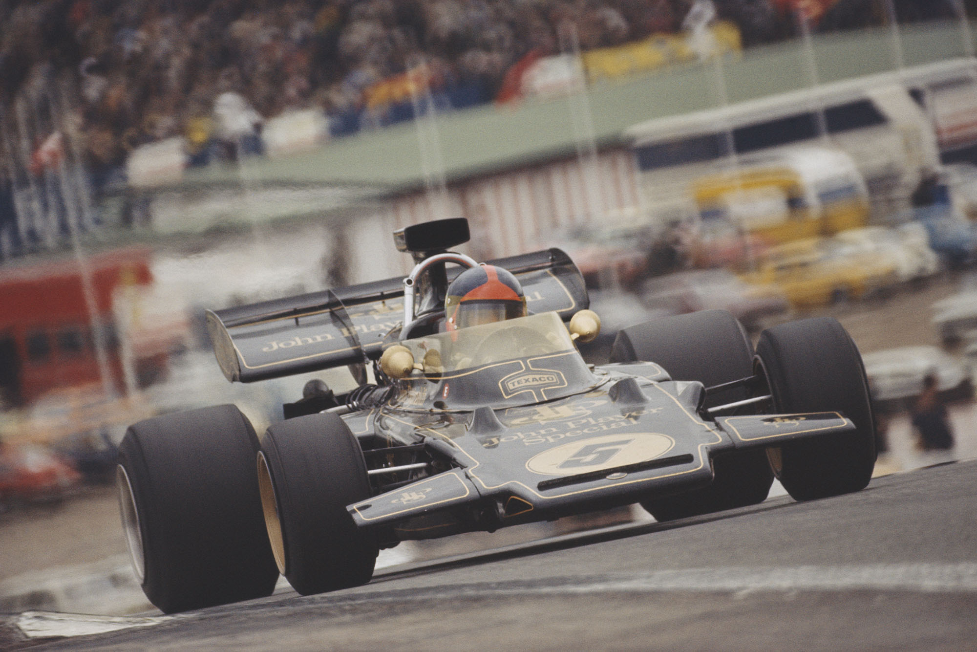 Emerson Fittipaldi driving at the 1972 Spanish Grand Prix for Lotus