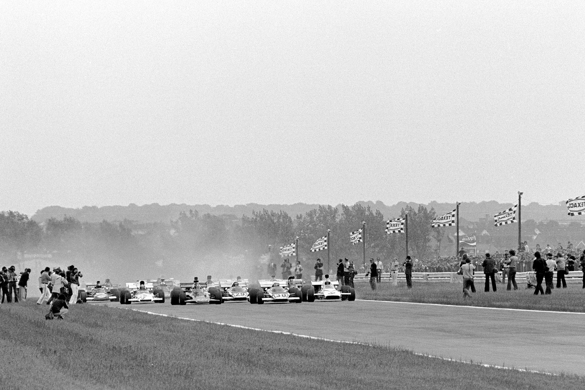The 1972 Belgian Grand Prix gets underway as the cars leave the grid.