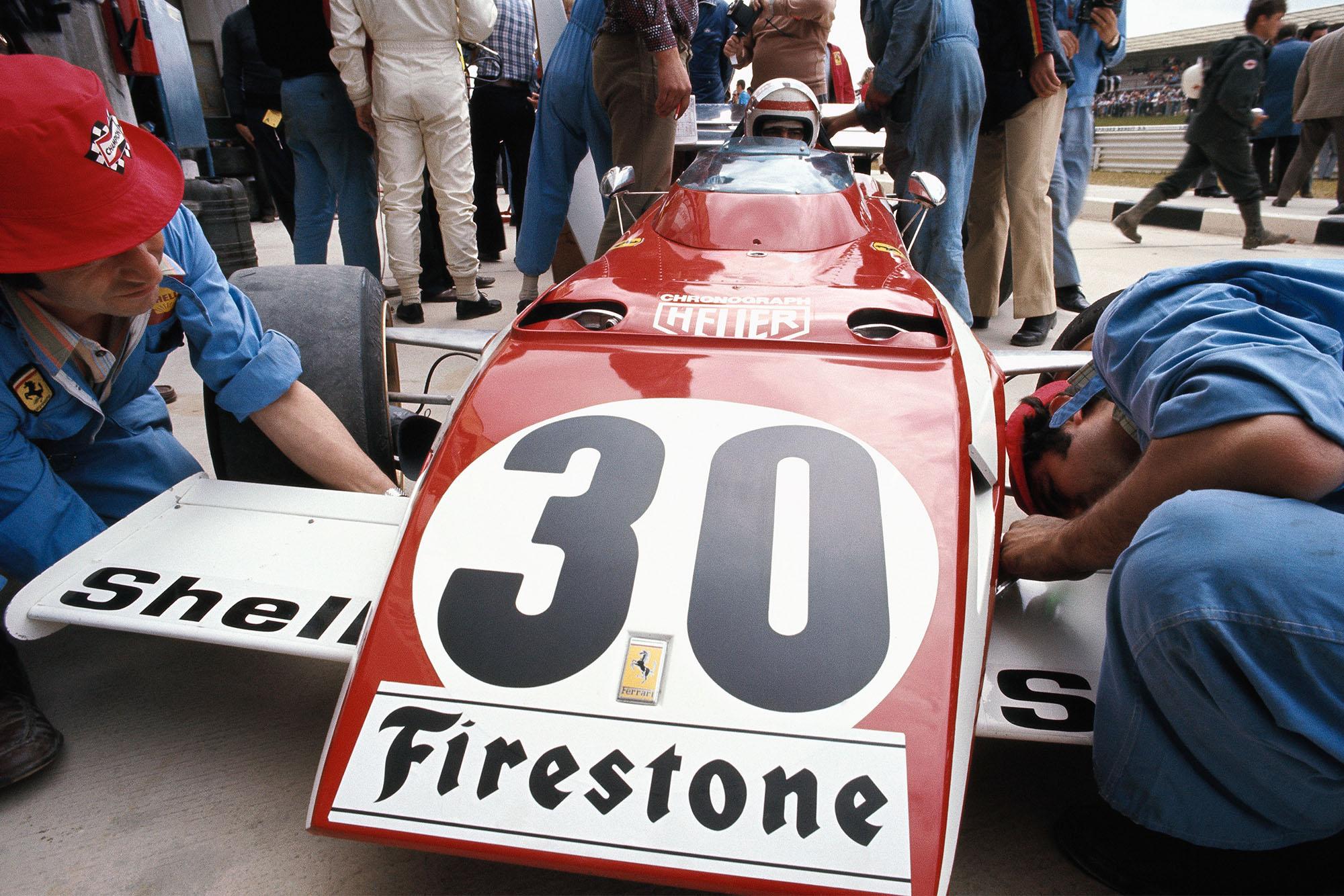 Clay Regazzoni in his Ferrari at the 1972 Belgian Grand Prix.