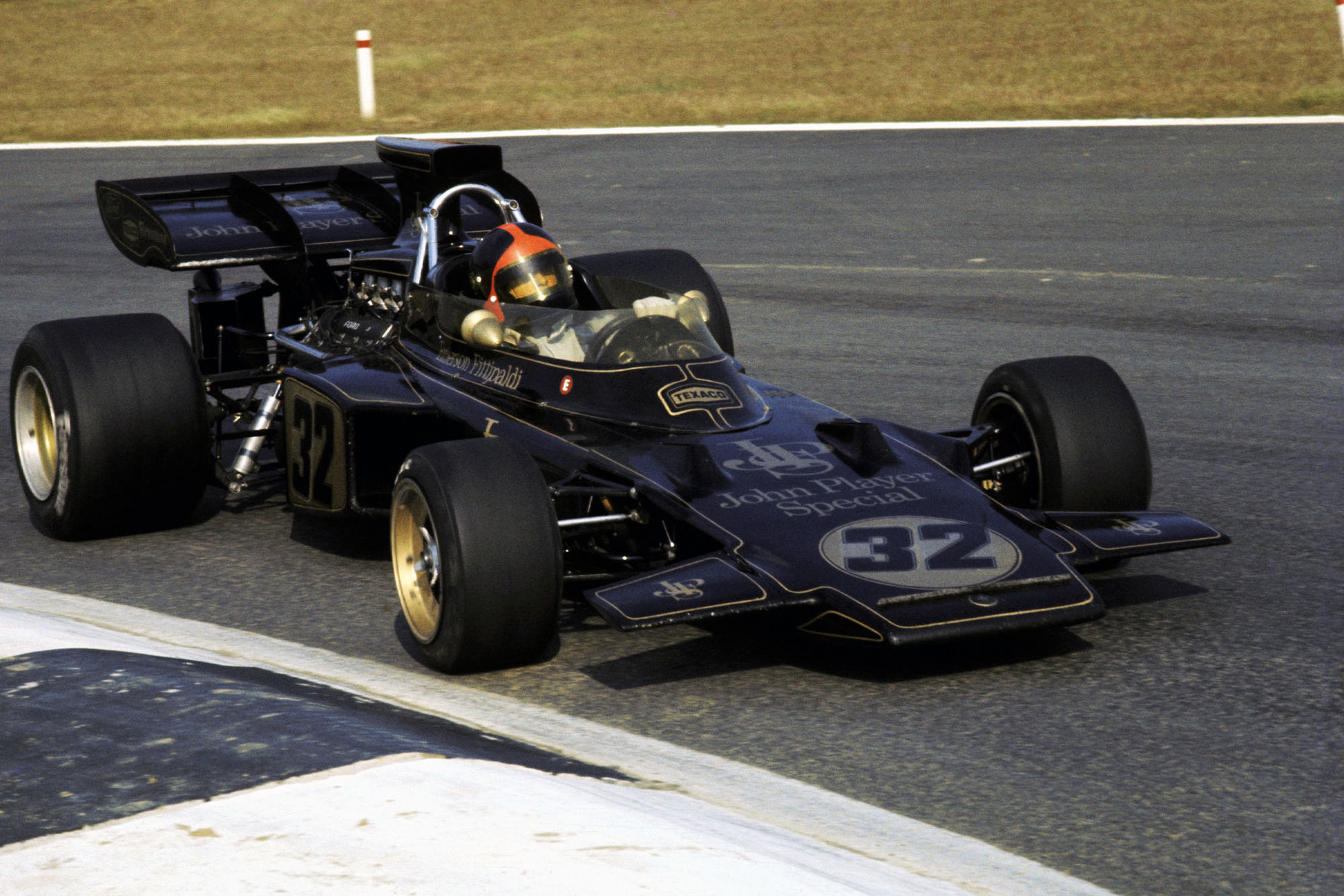 Lotus' Emerson Fittipaldi on his way to victory at the 1972 Belgian Grand Prix.
