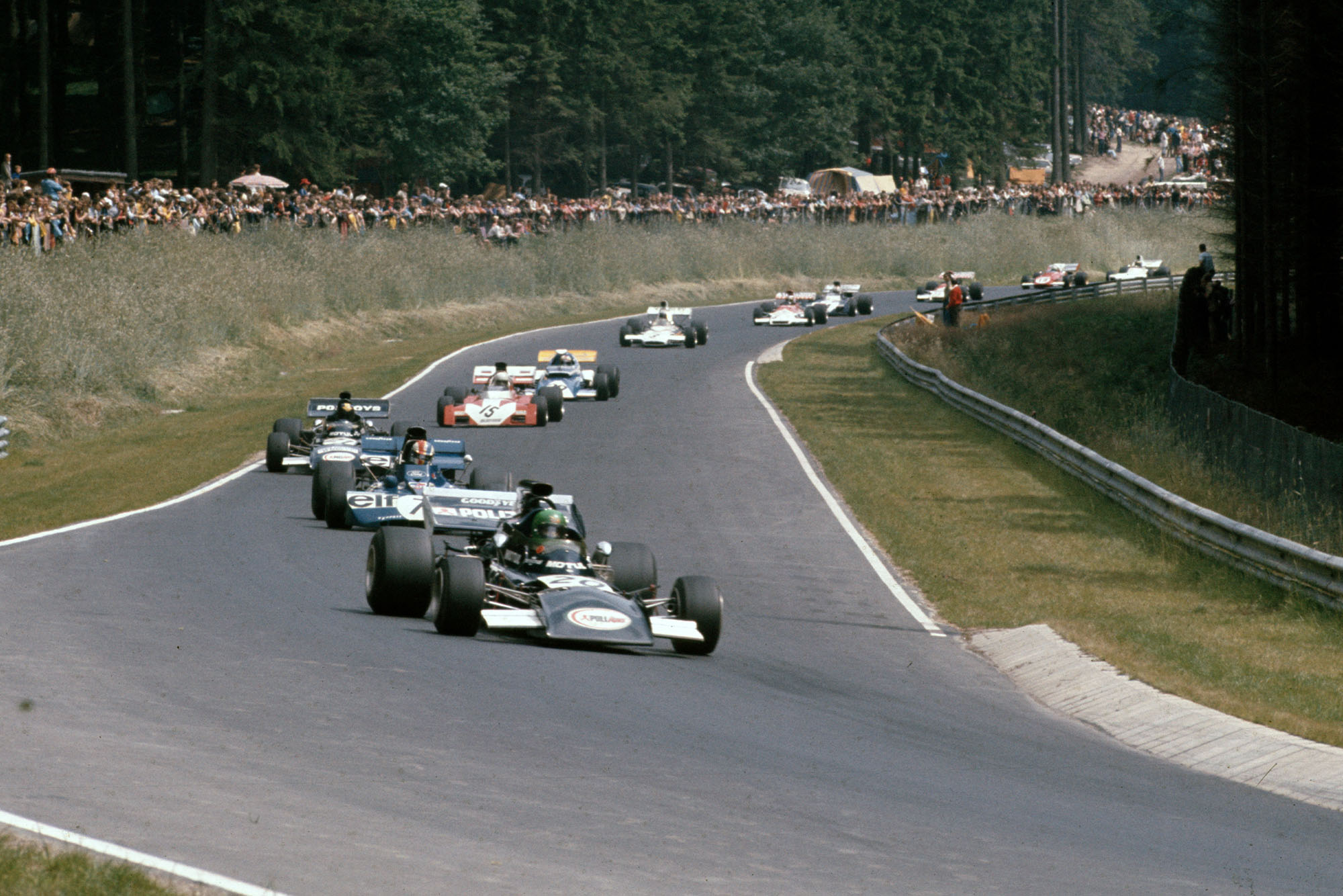 March's Henri Pescarolo leads the midfield battle at the 1972 German Grand Prix, Nurburgring.