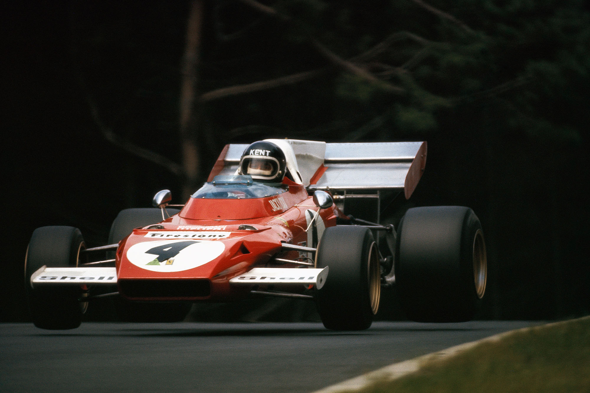 Jacky Ickx driving for Ferrari at the 1972 German Grand Prix.