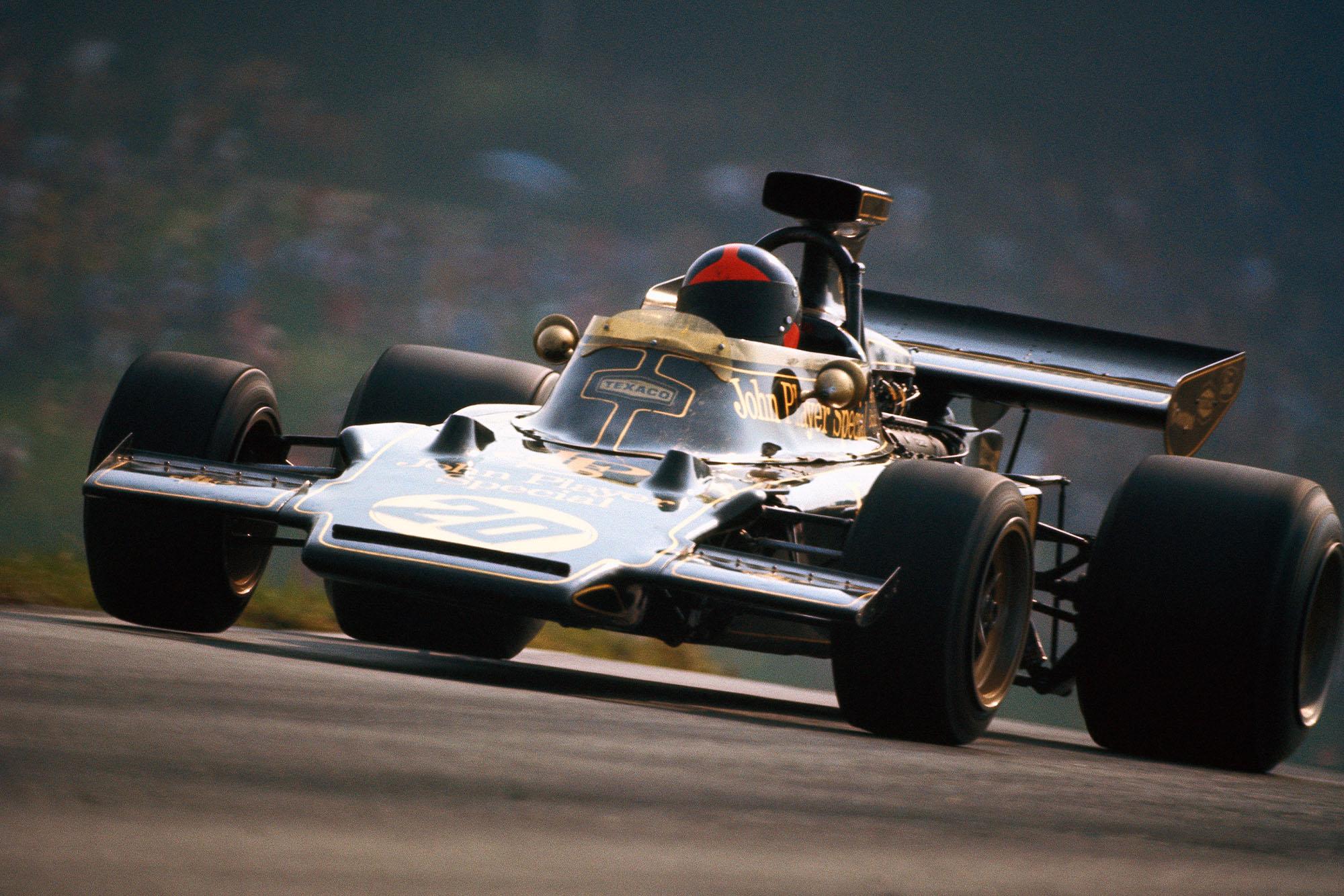 Emerson Fittipaldi driving for Lotus at the 1972 Austrian Grand Prix.